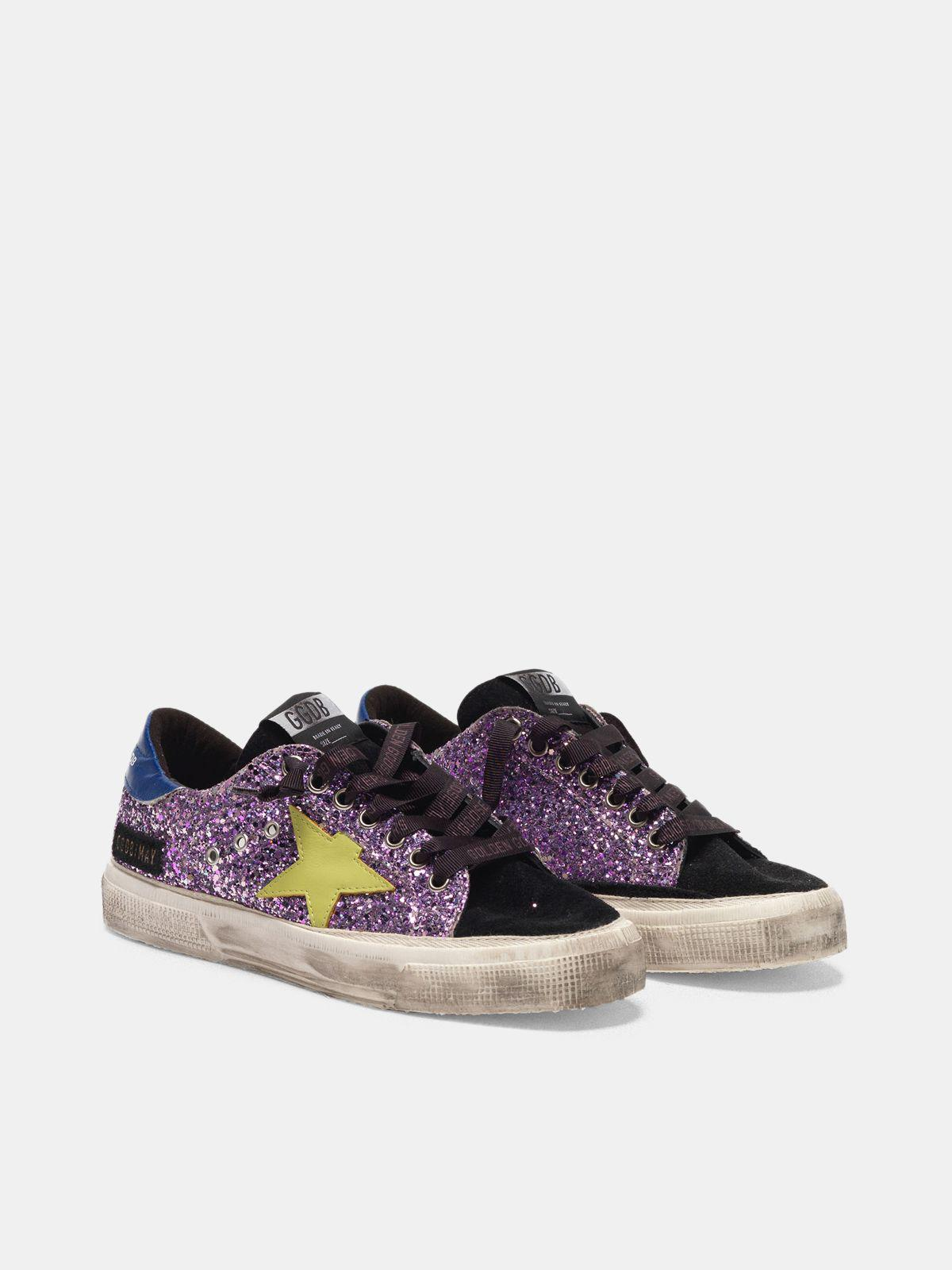 May sneakers in glitter and suede leather 2