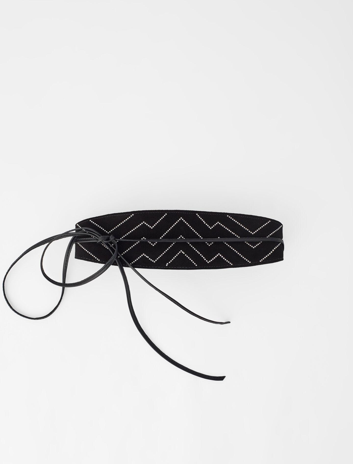 STUDDED SUEDE BELT WITH TIES
