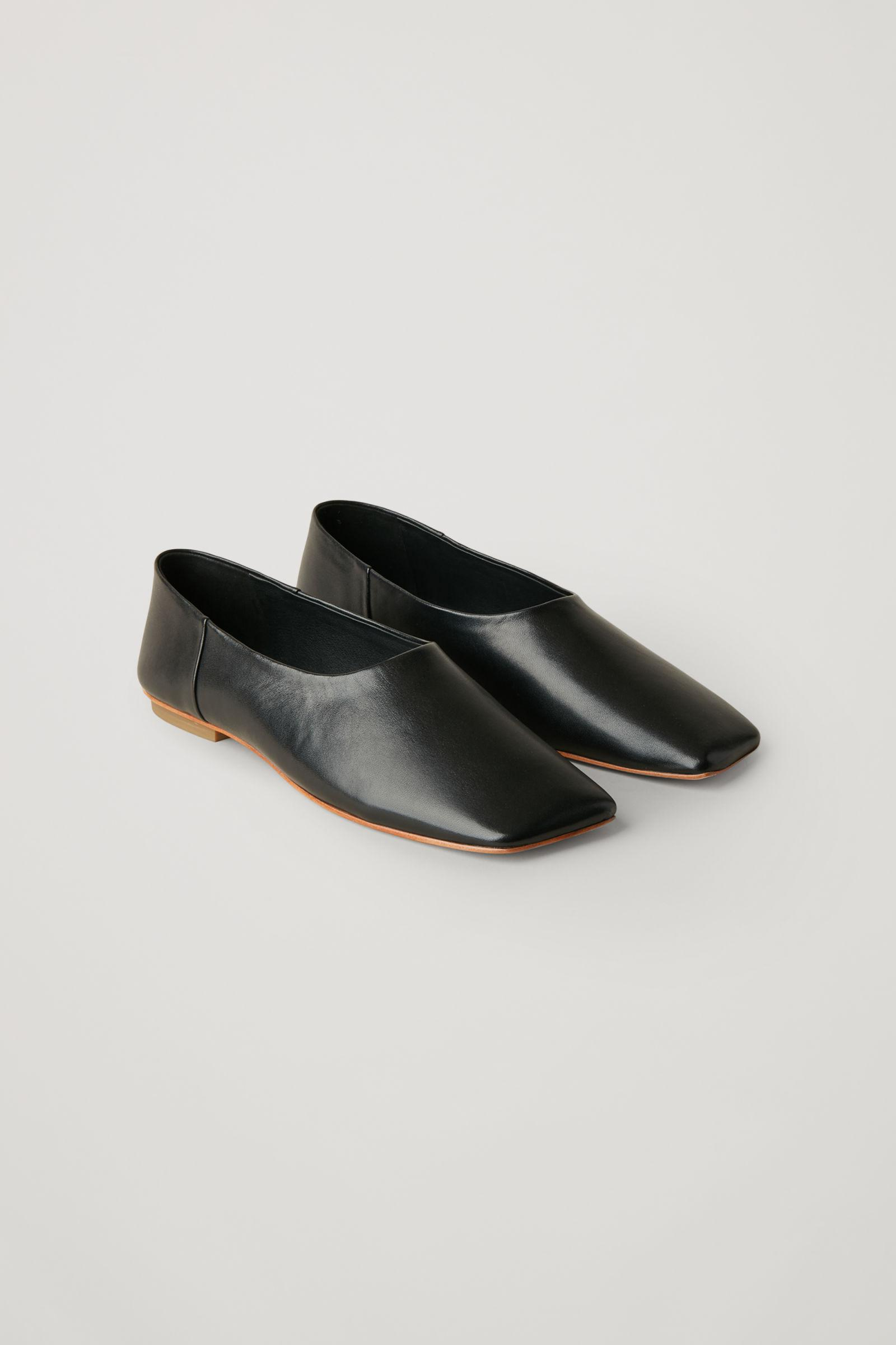 SQUARE TOE LEATHER BALLERINA SHOES