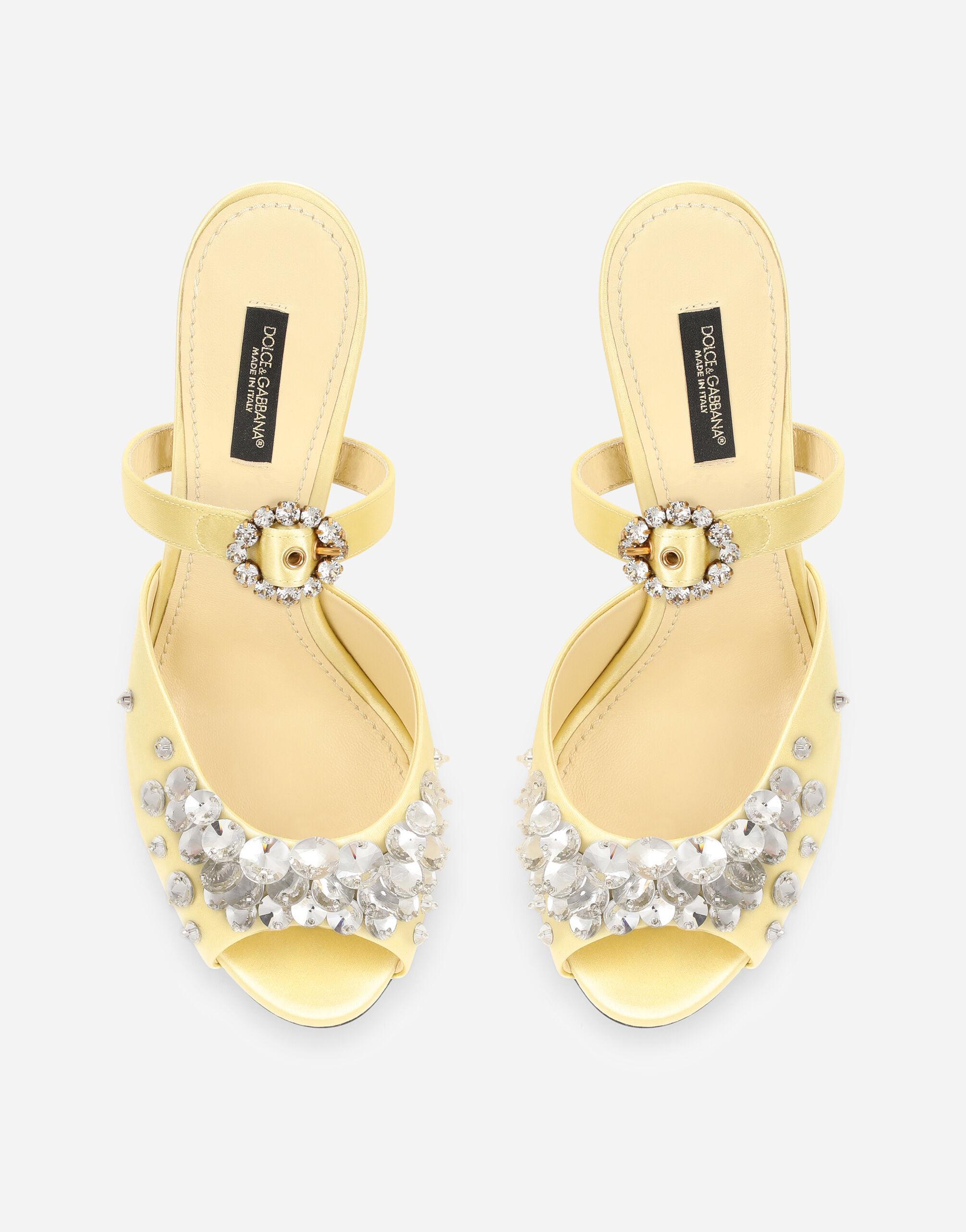 Satin mules with bejeweled embellishment 3