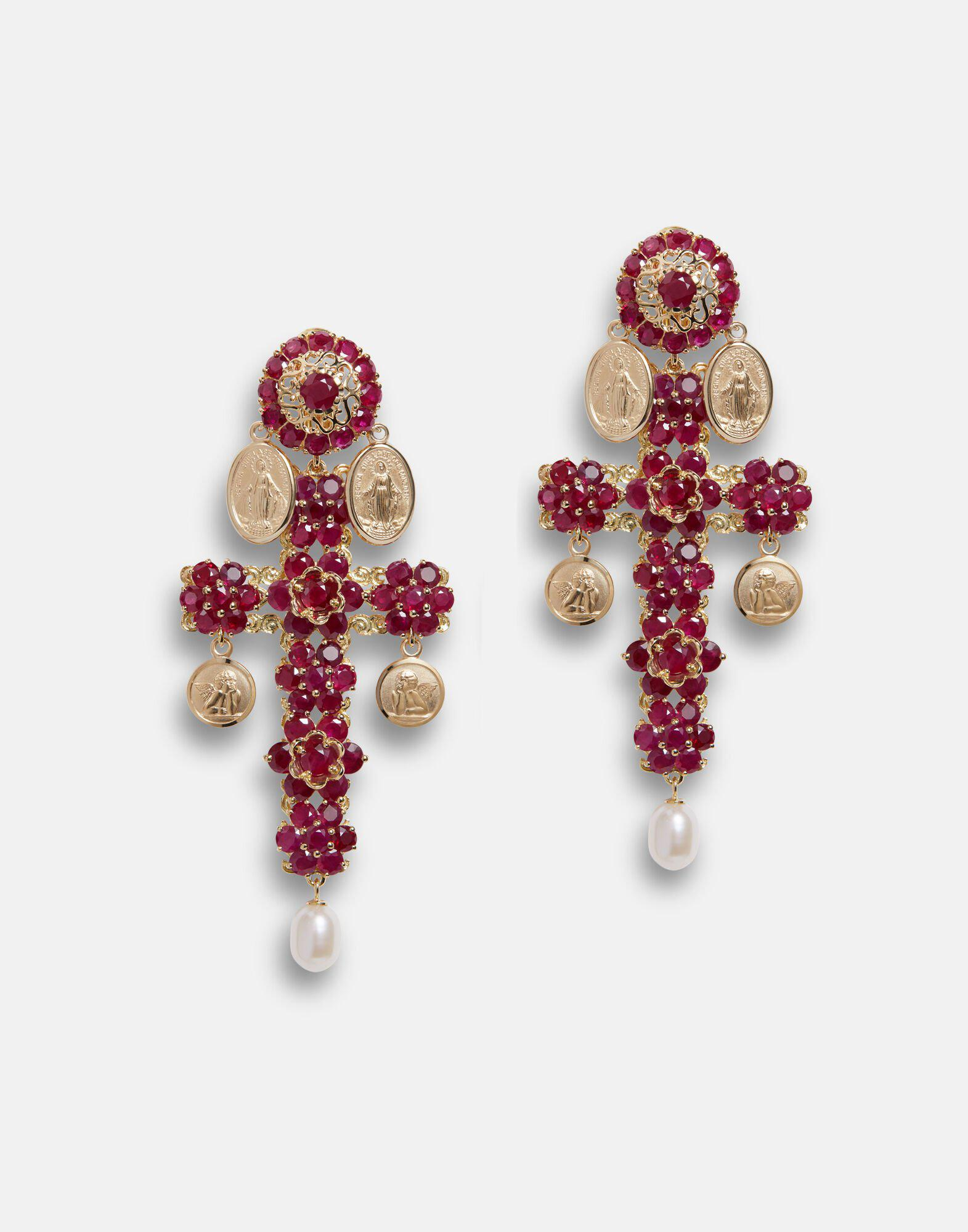 Family yellow gold cross pendant earrings with rubies