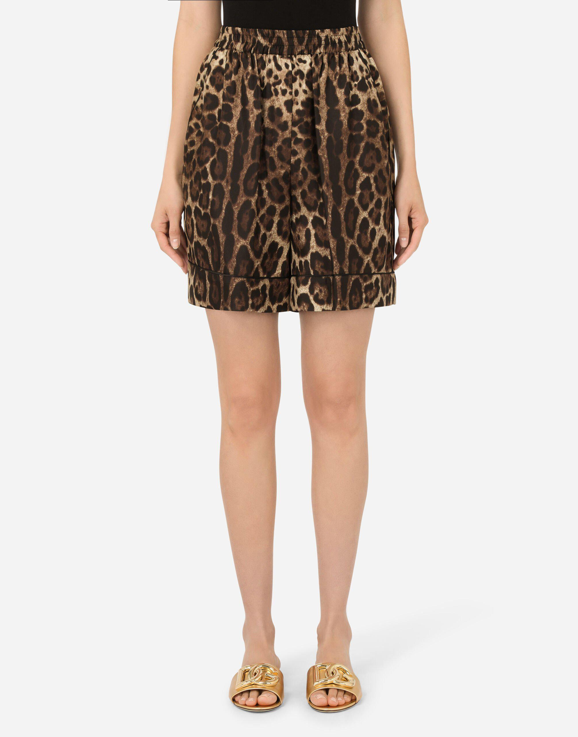 Leopard-print twill shorts with piping