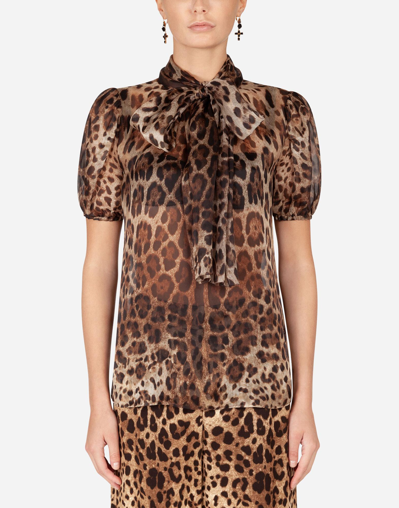 Leopard-print organza blouse with pussy bow