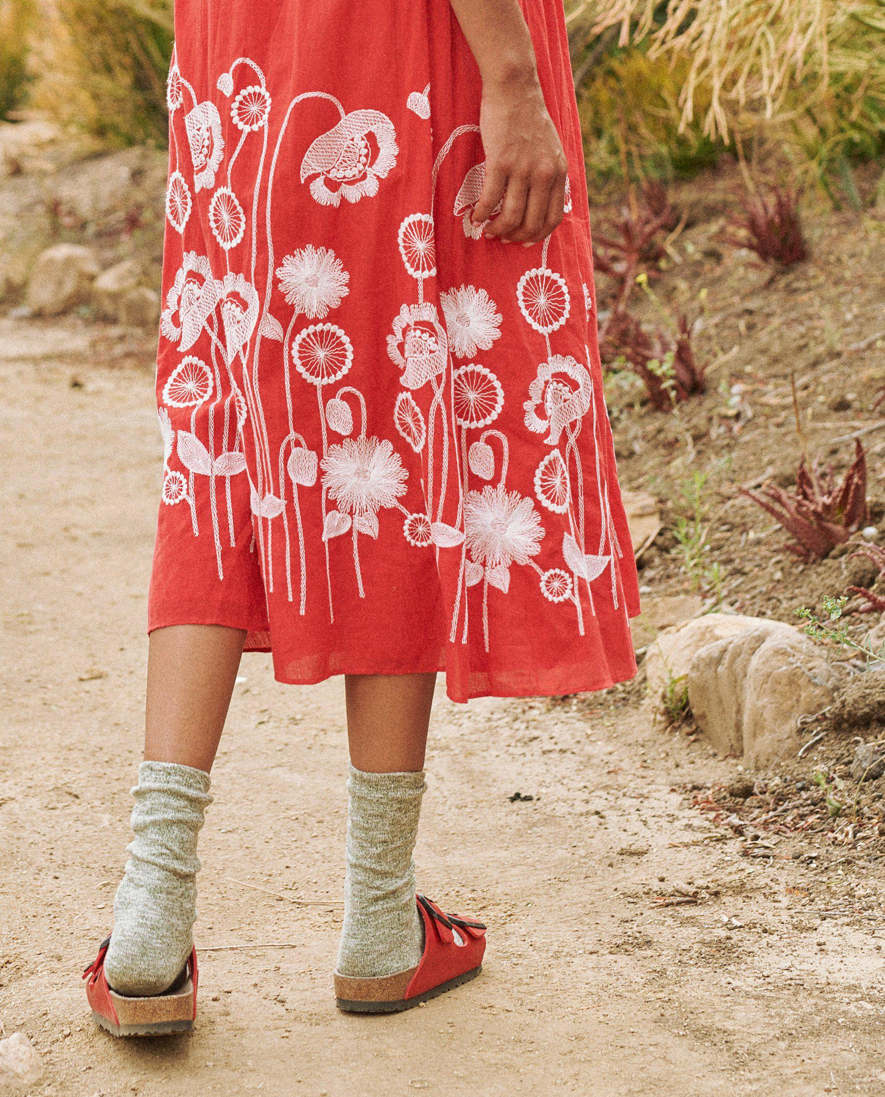 The Derby Dress. -- Cherry Red with Trellis Floral Embroidery 2