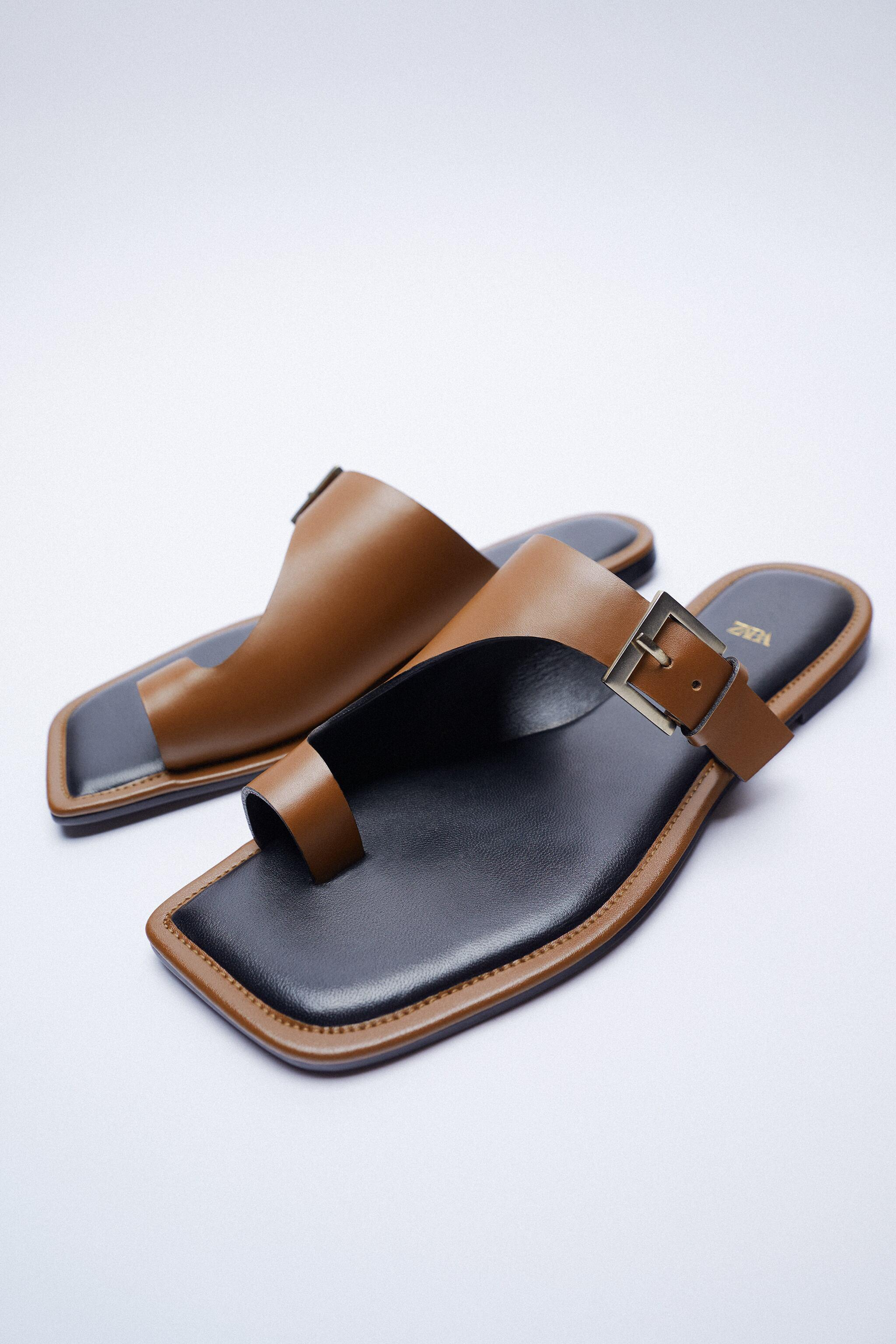 ASYMMETRICAL LEATHER SLIDE SANDALS WITH BUCKLE 8