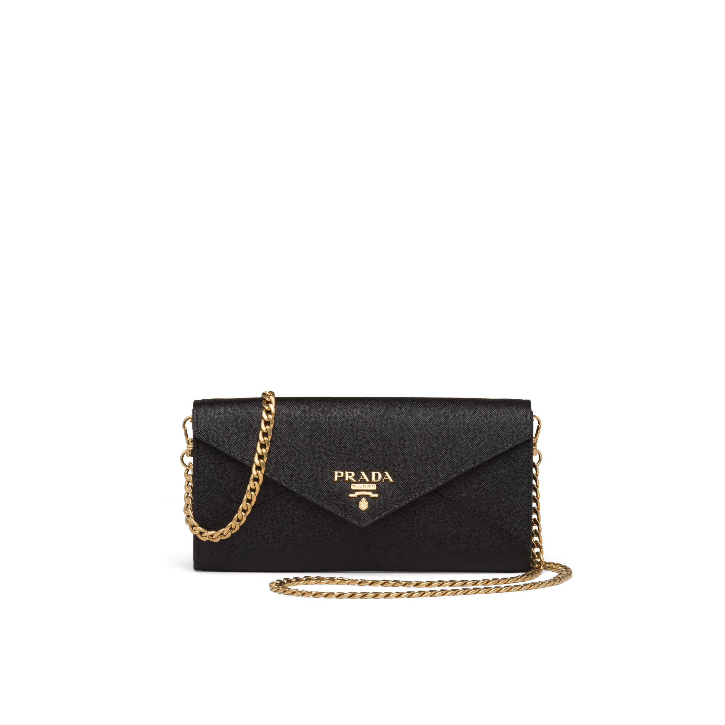 Saffiano Leather Wallet With Shoulder Strap Women Black 0