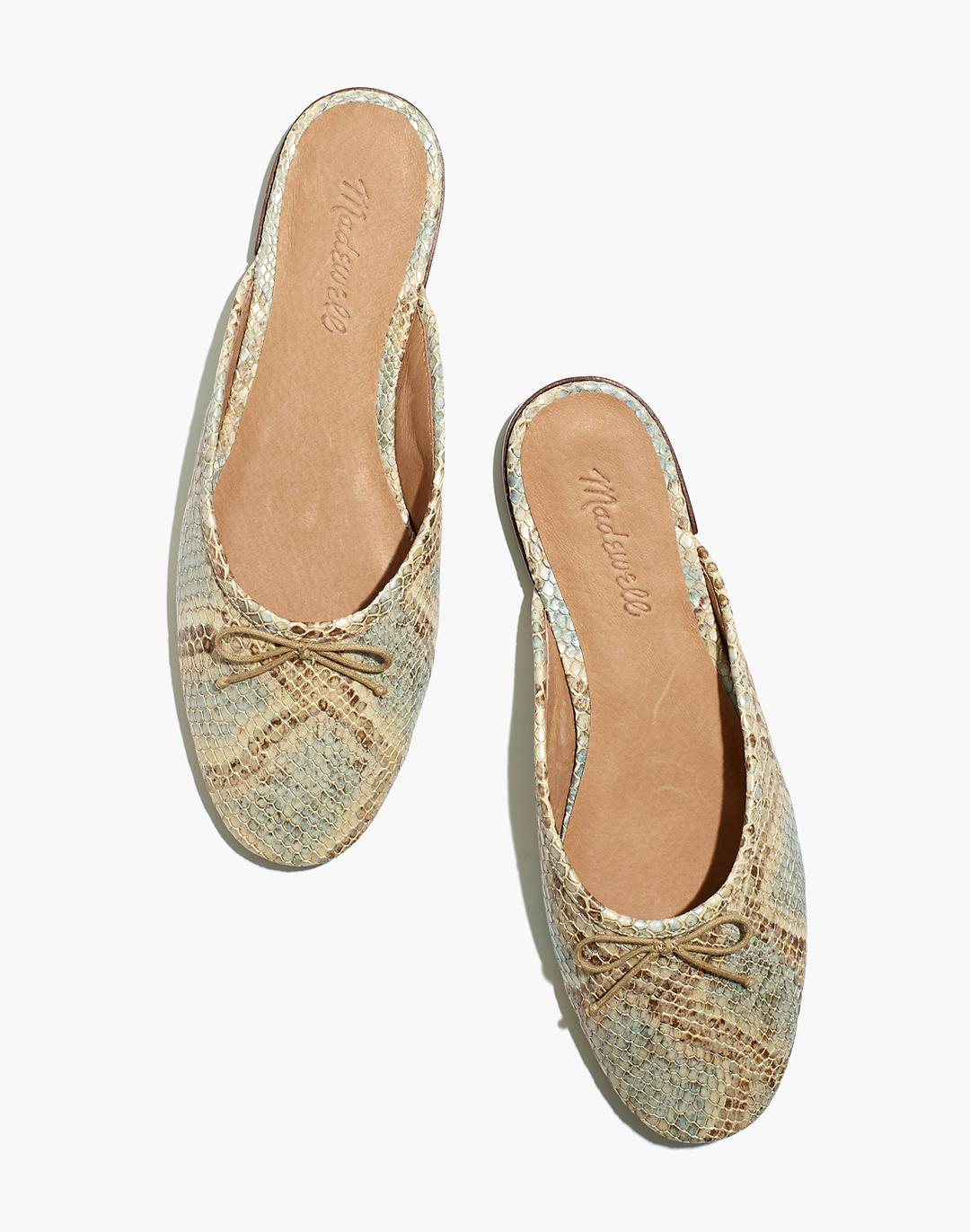 The Adelle Ballet Mule in Snake Embossed Leather