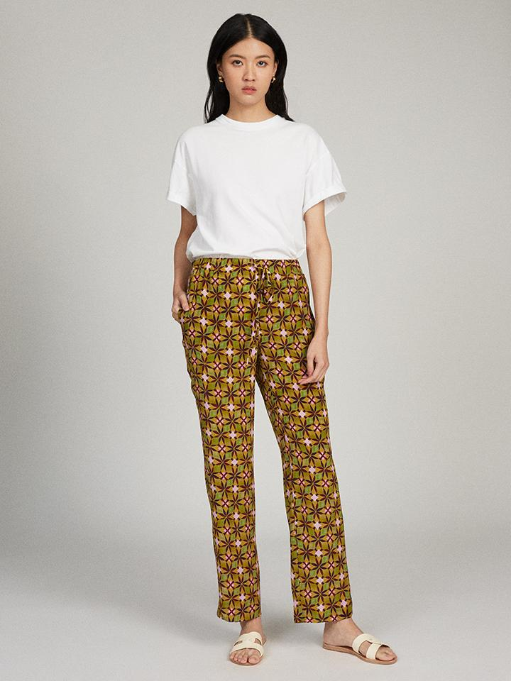 Paige-C Trouser in Olive Tile print