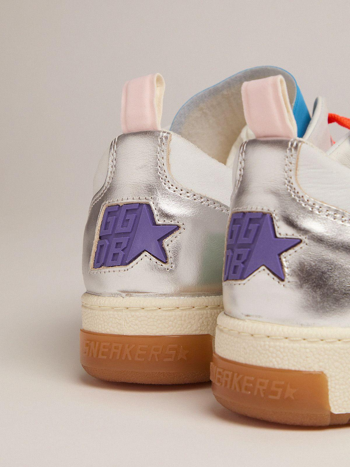 Women's white and blue Yeah sneakers with leopard-print star 3