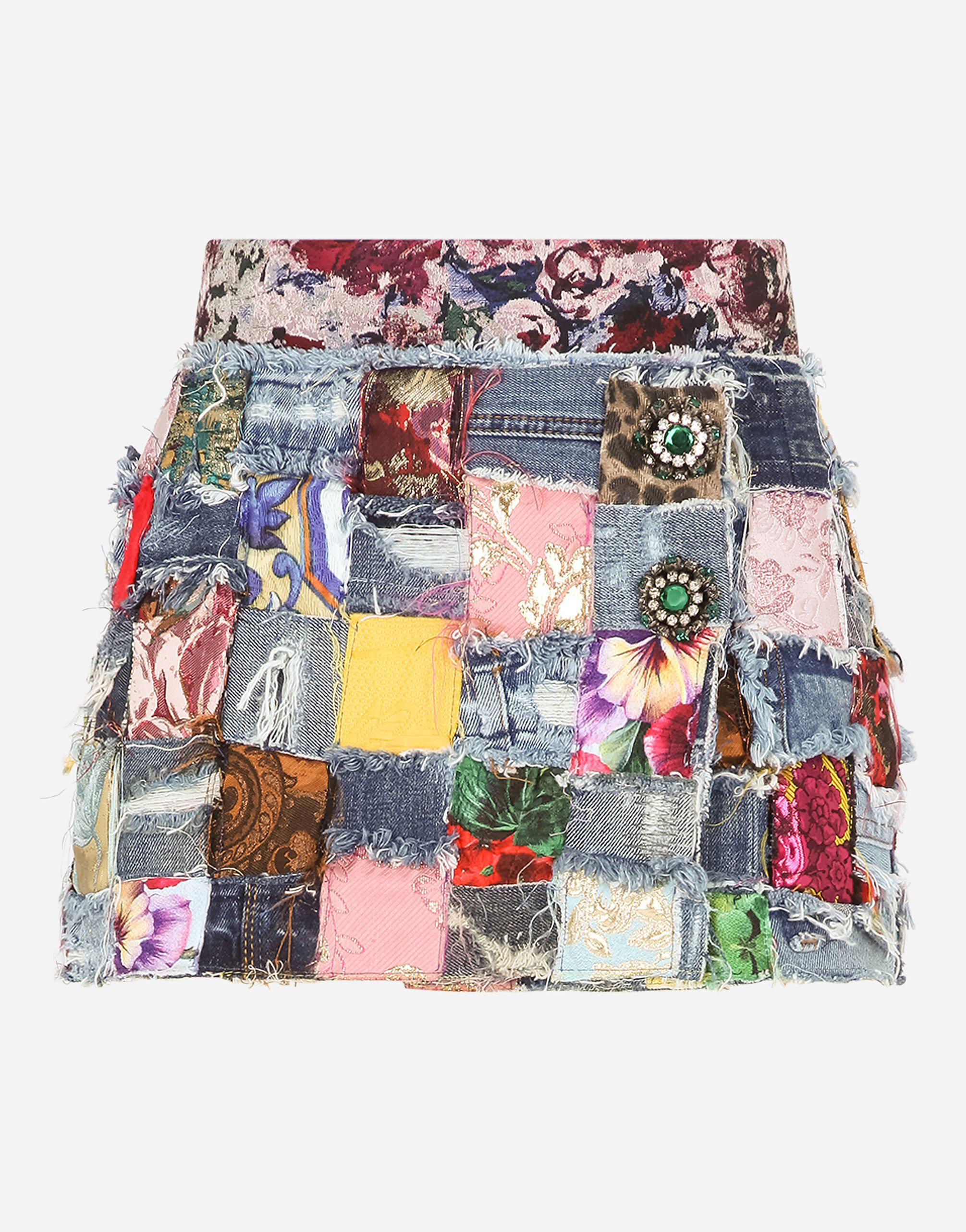 Denim miniskirt with interwoven patchwork detailing and bejeweled buttons 4