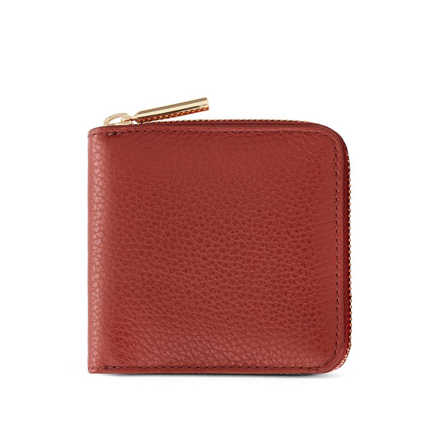 Women's Small Classic Zip Around Wallet in Rust | Pebbled Leather by Cuyana