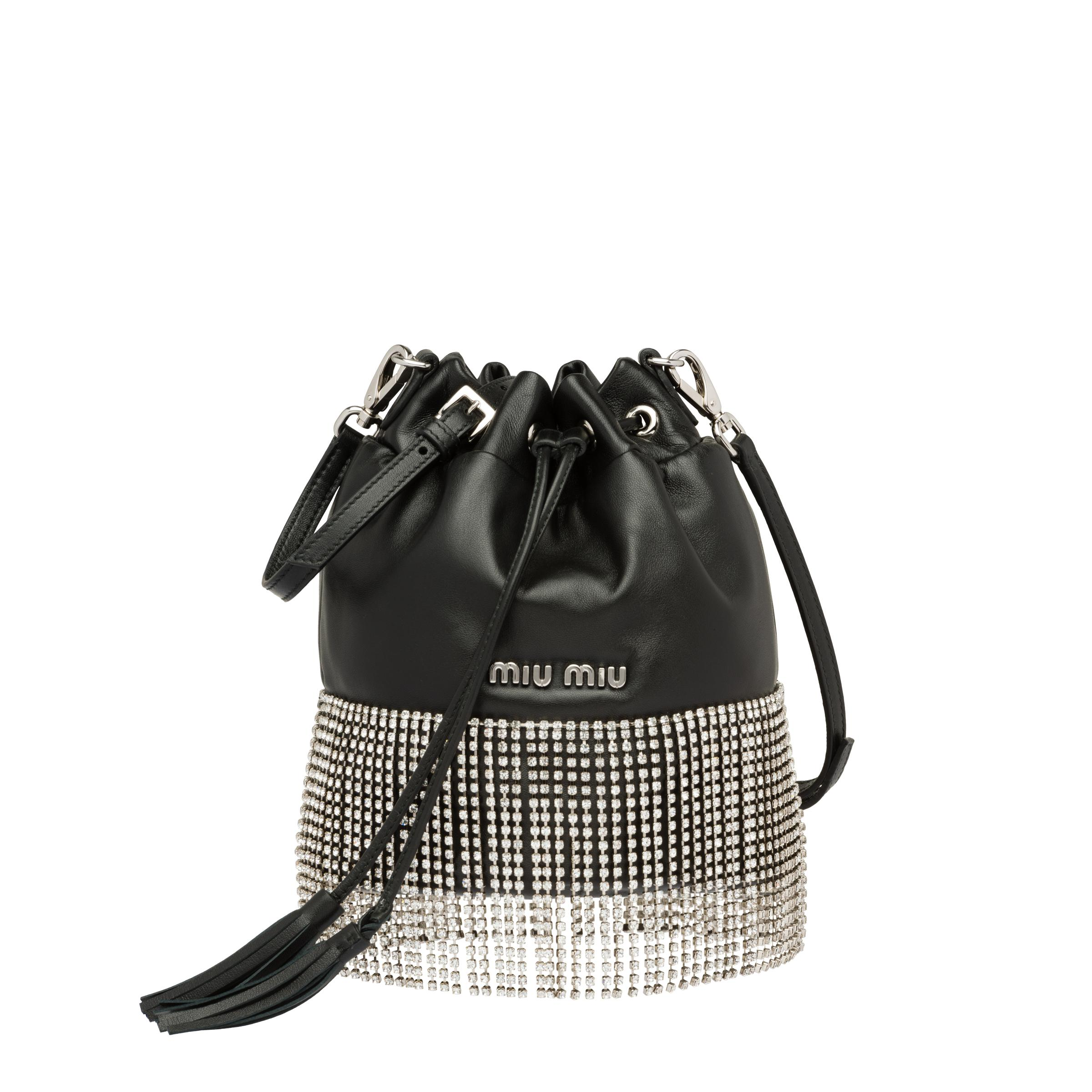 Leather Bucket Bag With Crystals Women Black