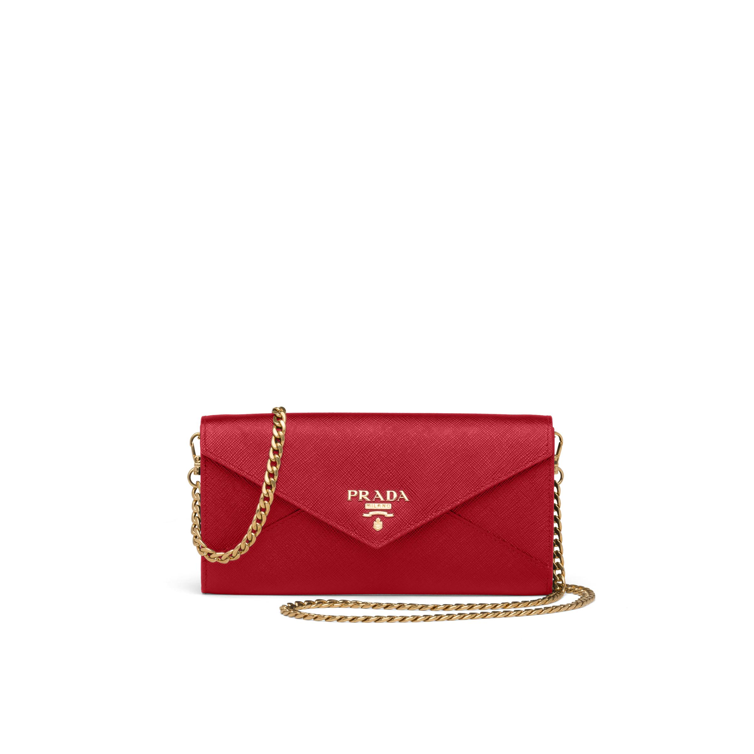 Saffiano Leather Wallet With Shoulder Strap Women Fiery Red