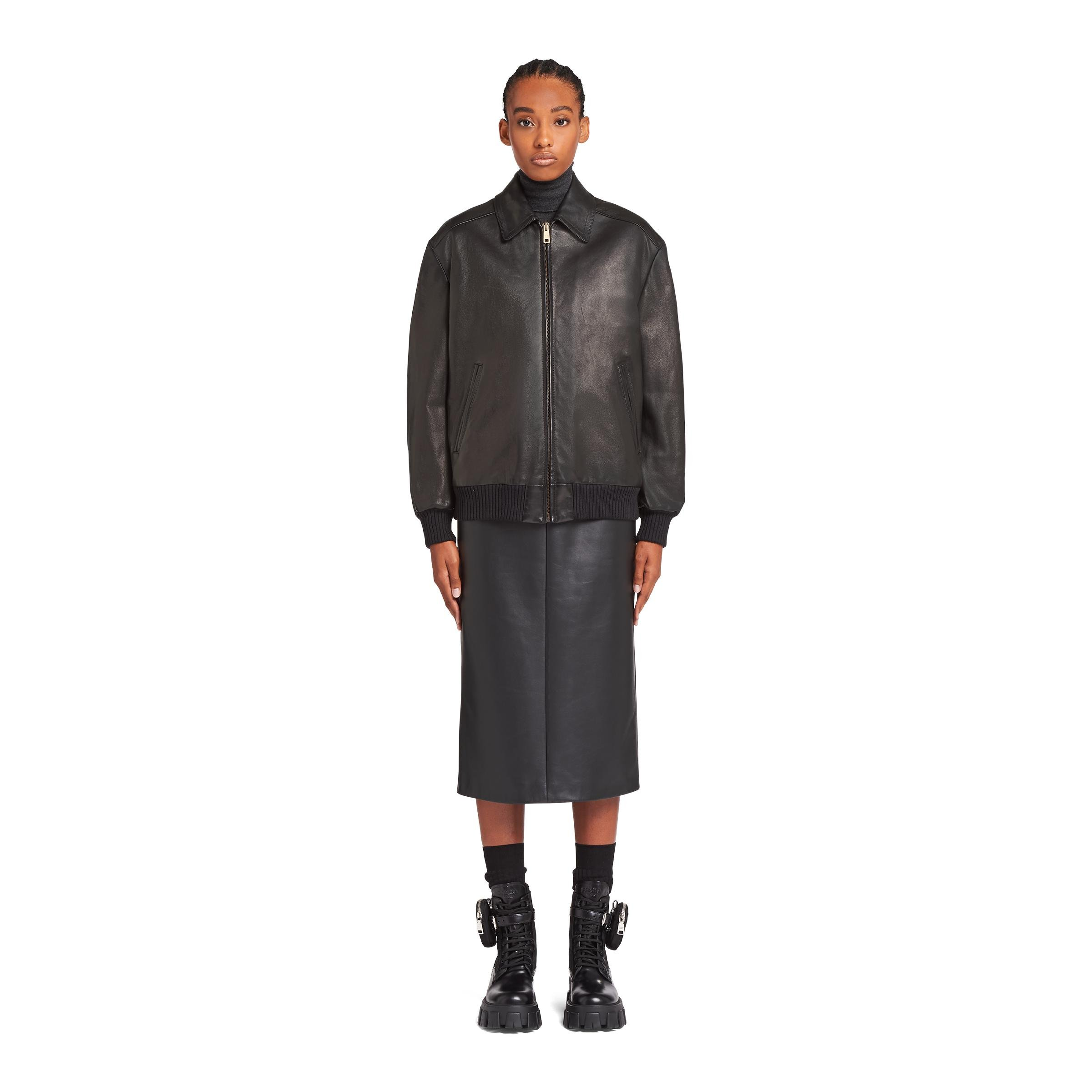 Nappa Leather And Shearling Bomber Jacket Women Black 1