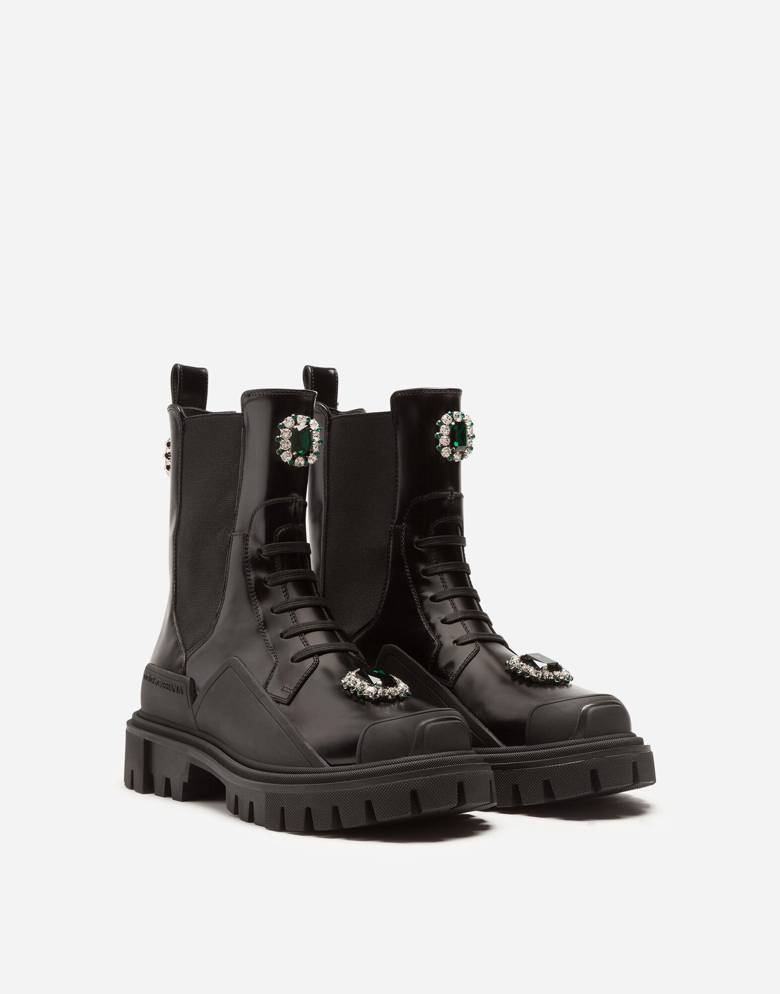 Polished calfskin combat boots with bejeweled embroidery 1
