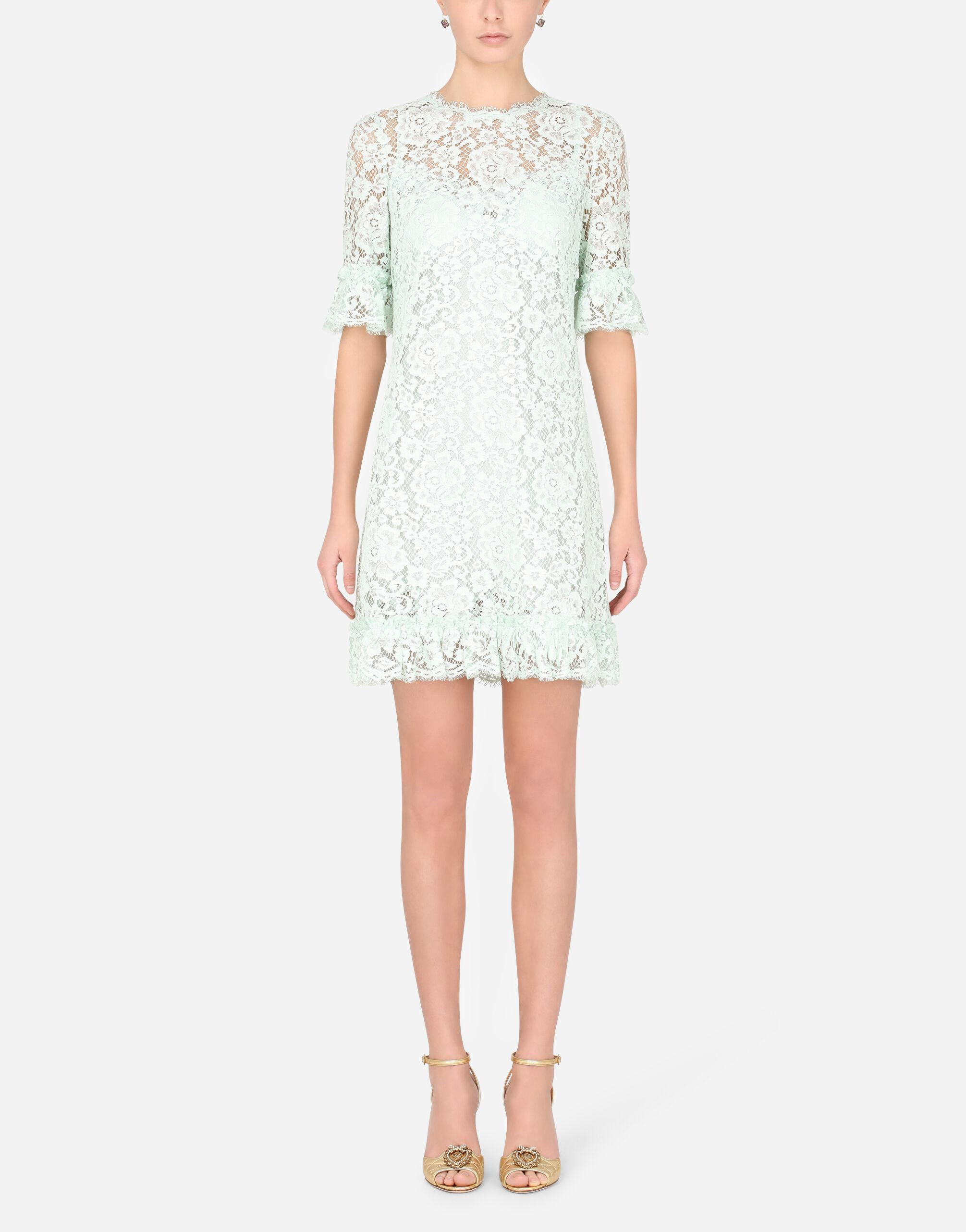 Short lace dress with ruching