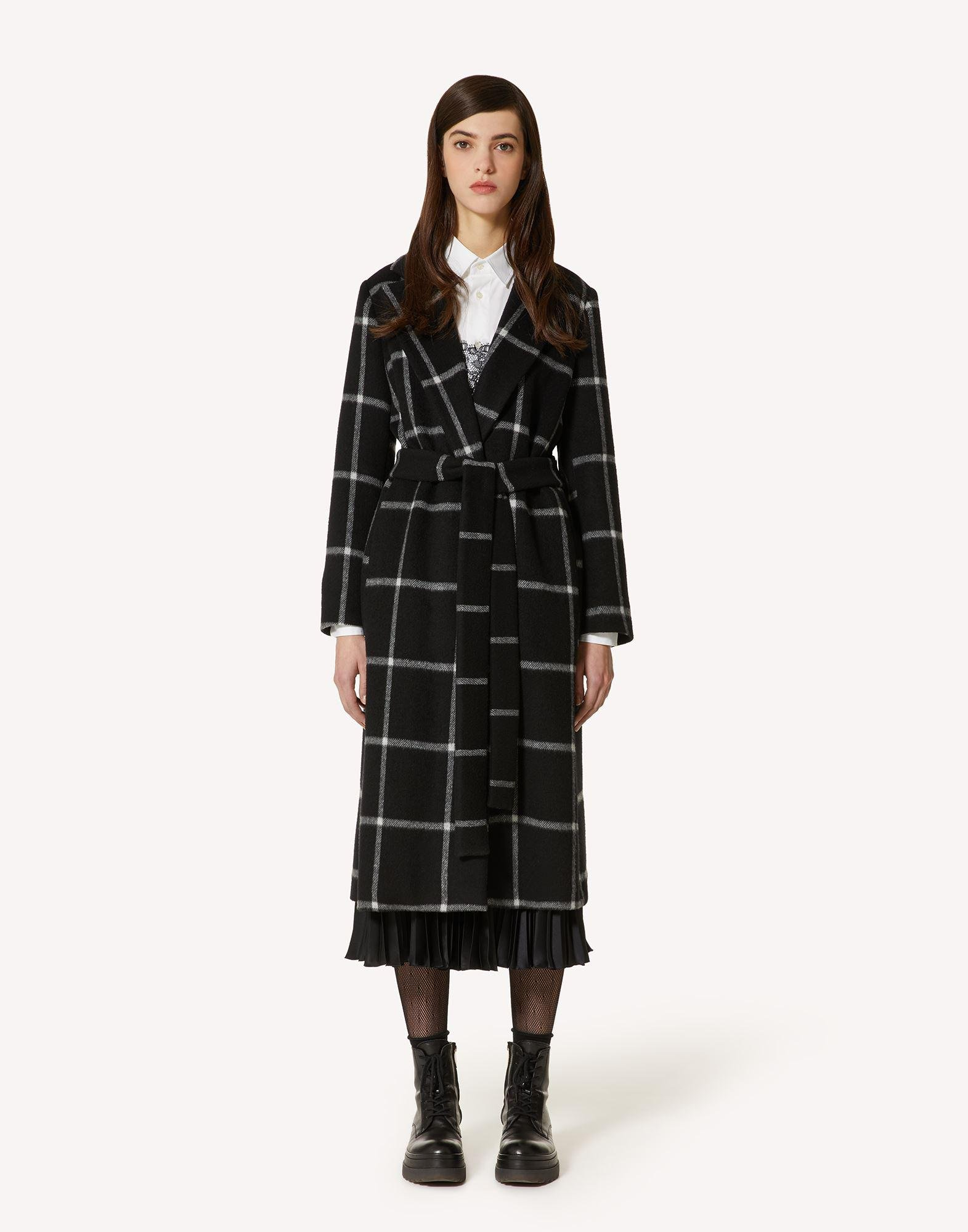 BELTED DOUBLE DRAP CHECK COAT