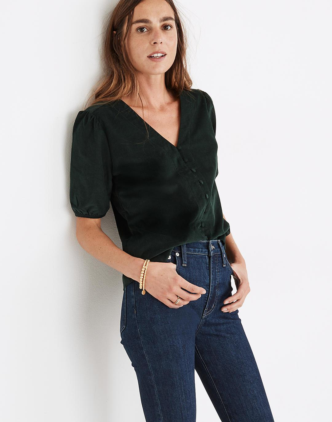 Corduroy Puff-Sleeve Button-Front Top 0