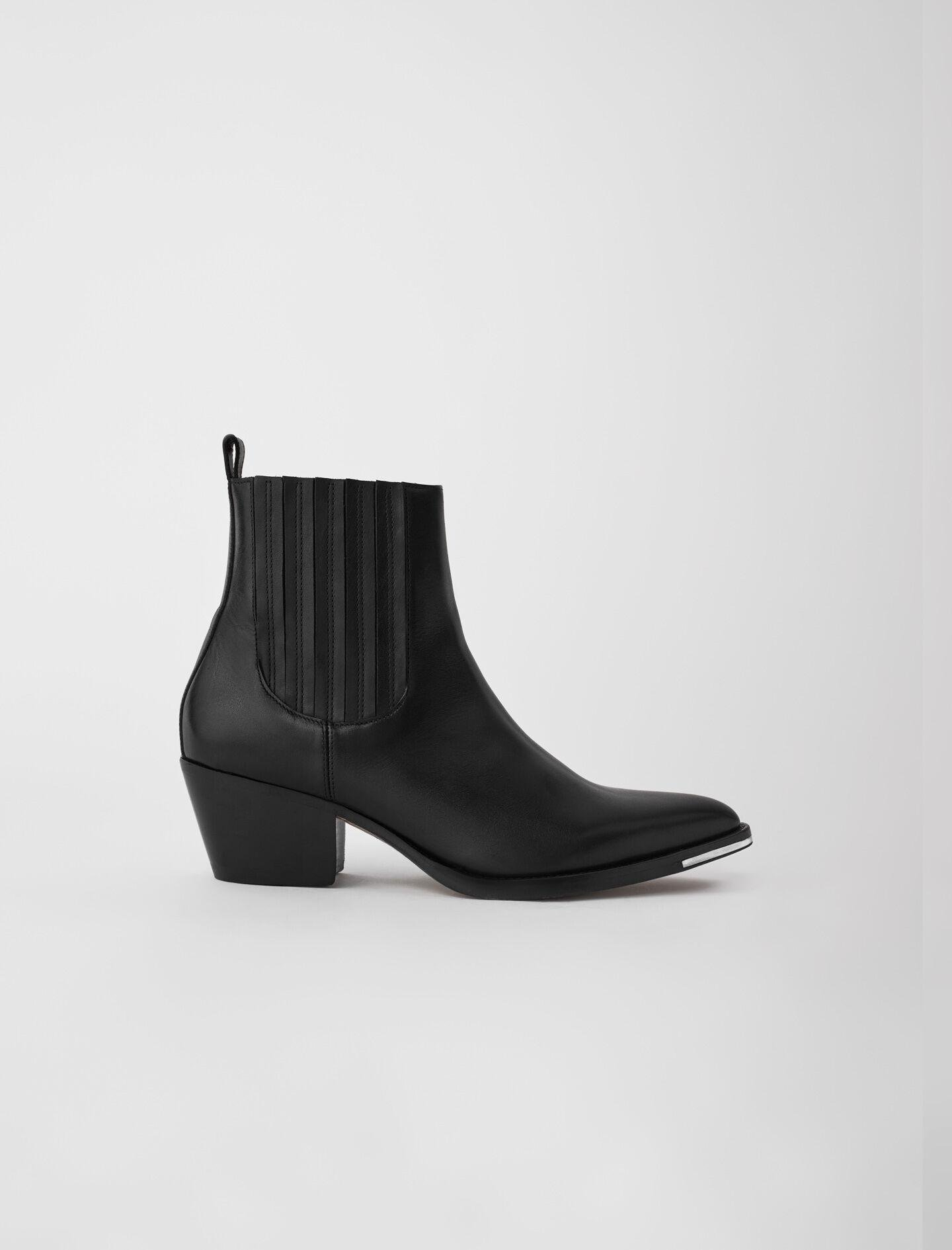 WESTERN-STYLE ANKLE BOOTS IN LEATHER