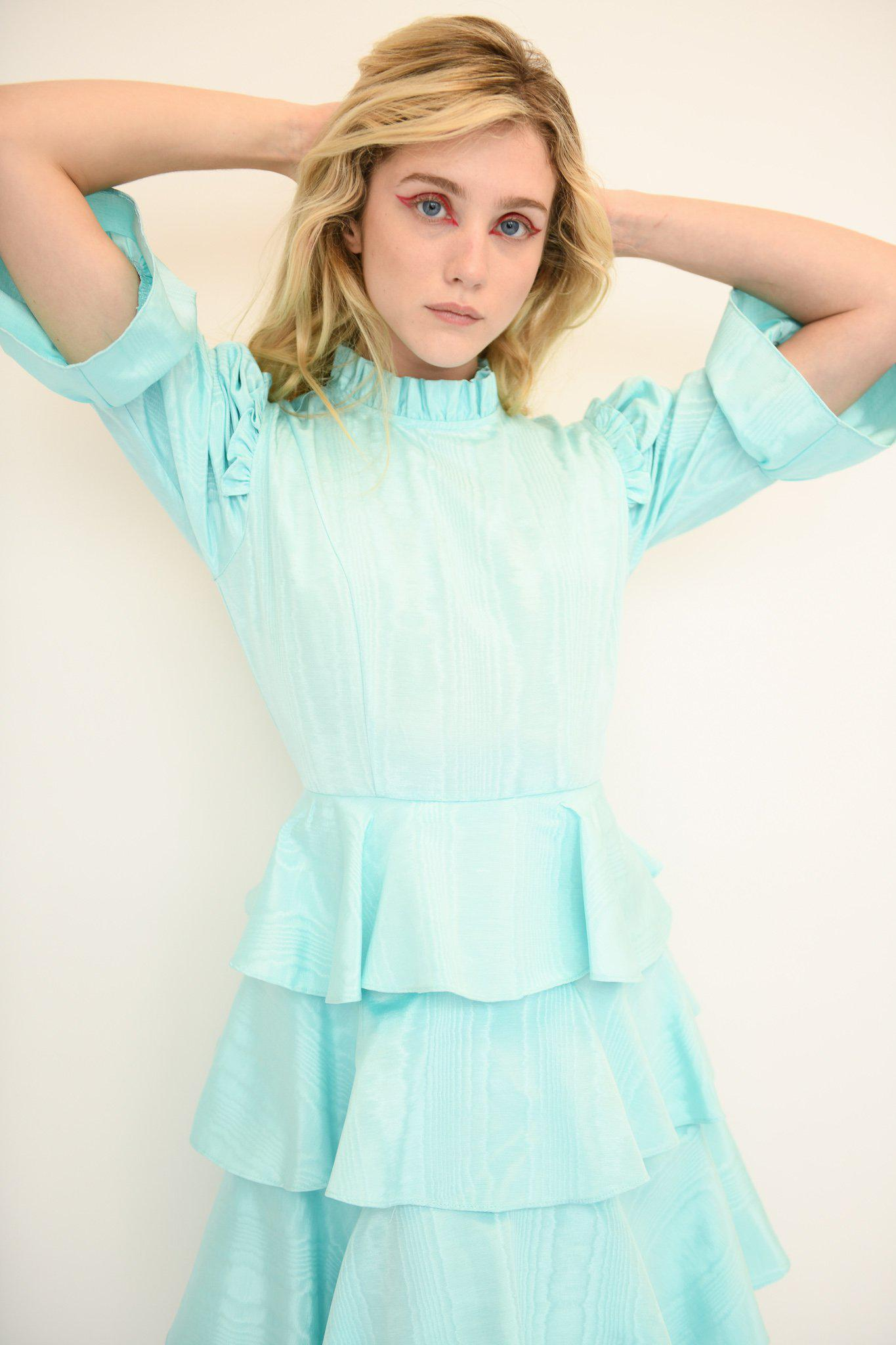 Spring Confection Dress in Aqua Moire 2