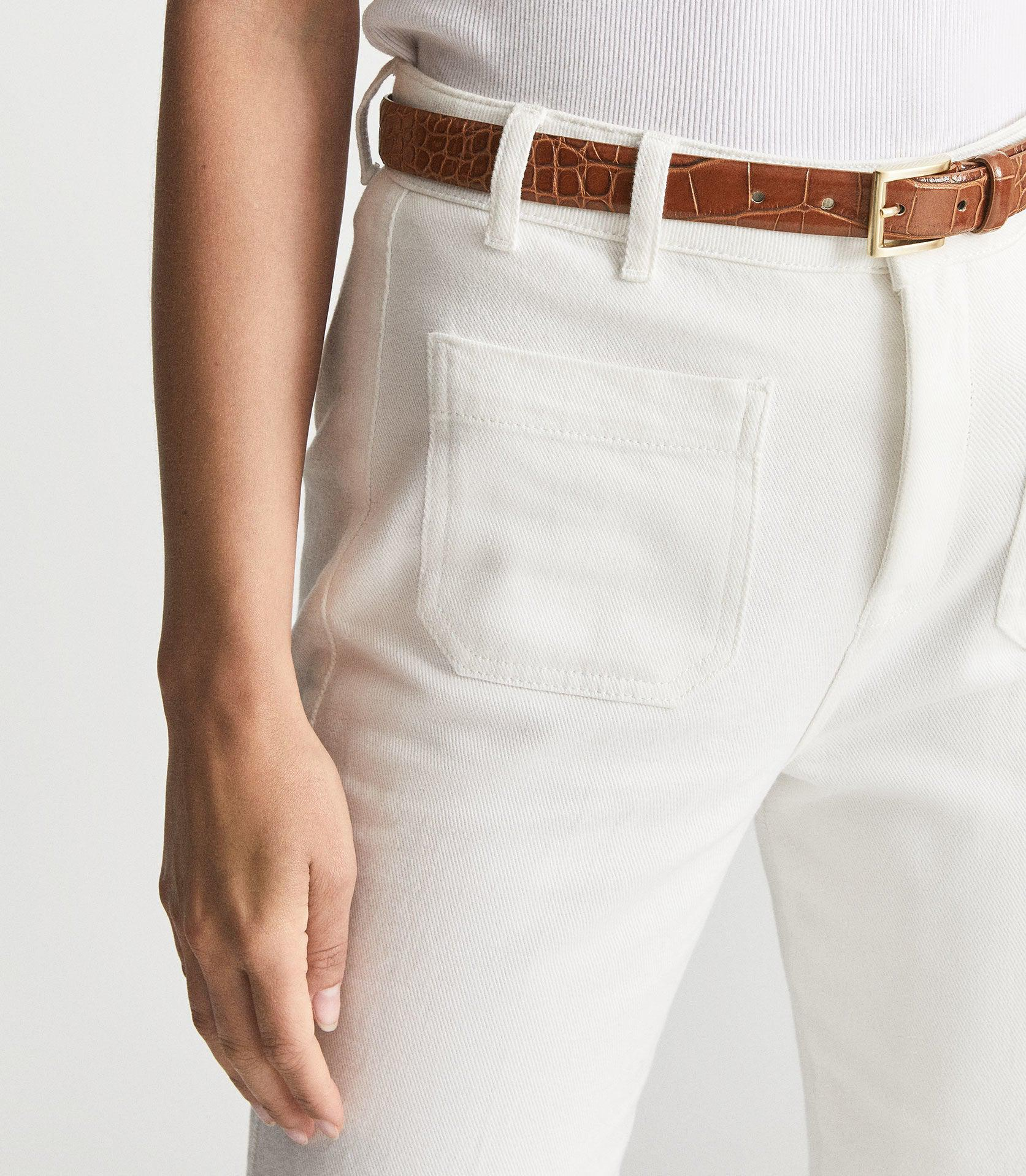 MOLLY - LEATHER CROC EMBOSSED BELT 2
