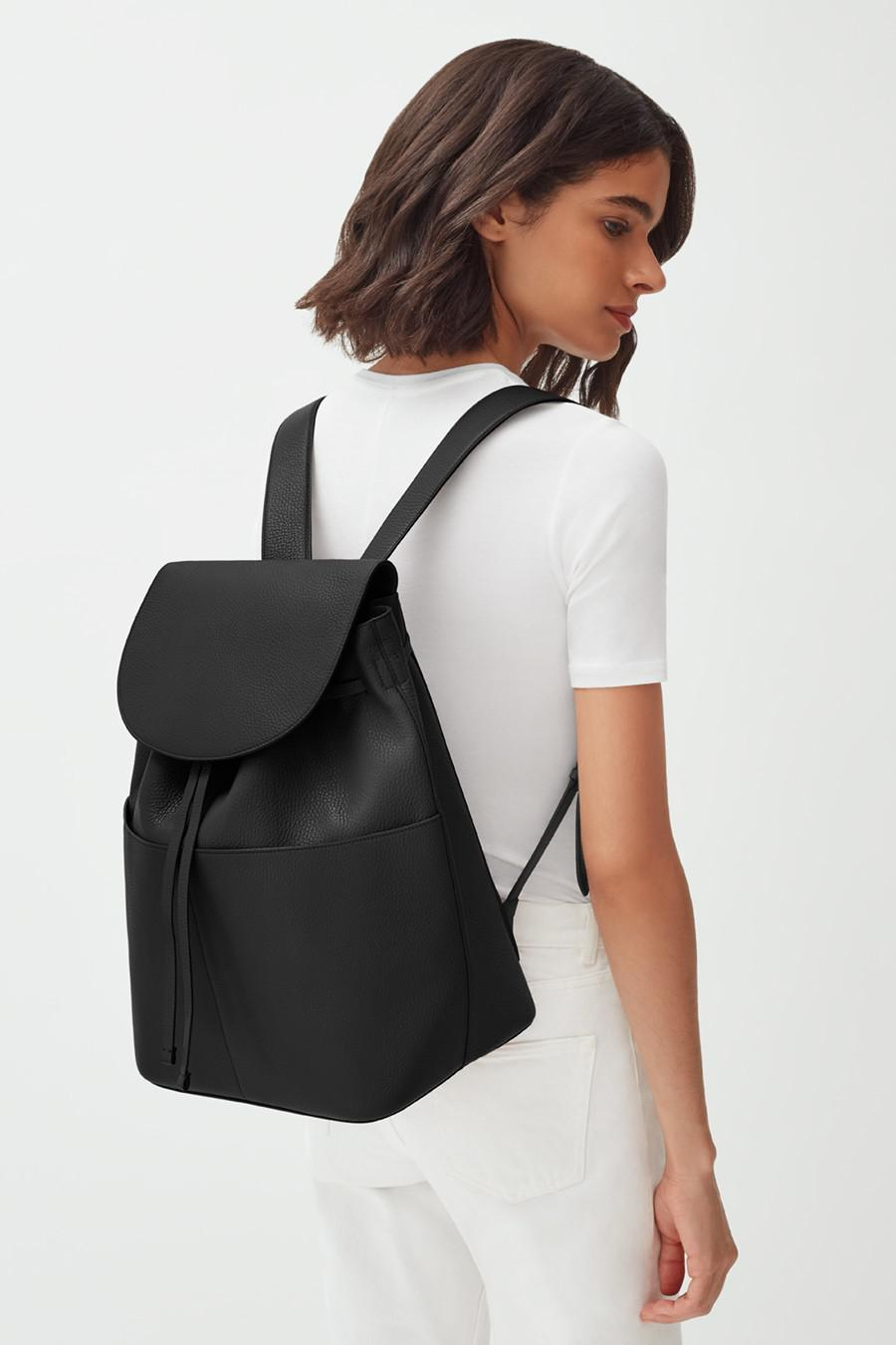 Women's Large Leather Backpack in Black | Pebbled Leather by Cuyana 5