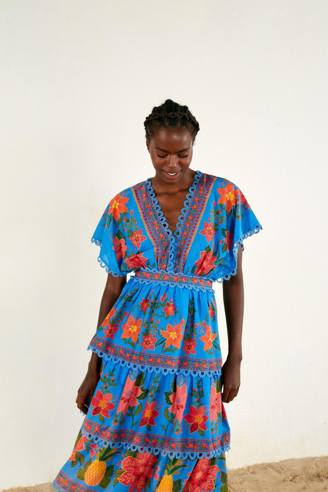 BLUE TROPICAL TAPESTRY LAYERED DRESS