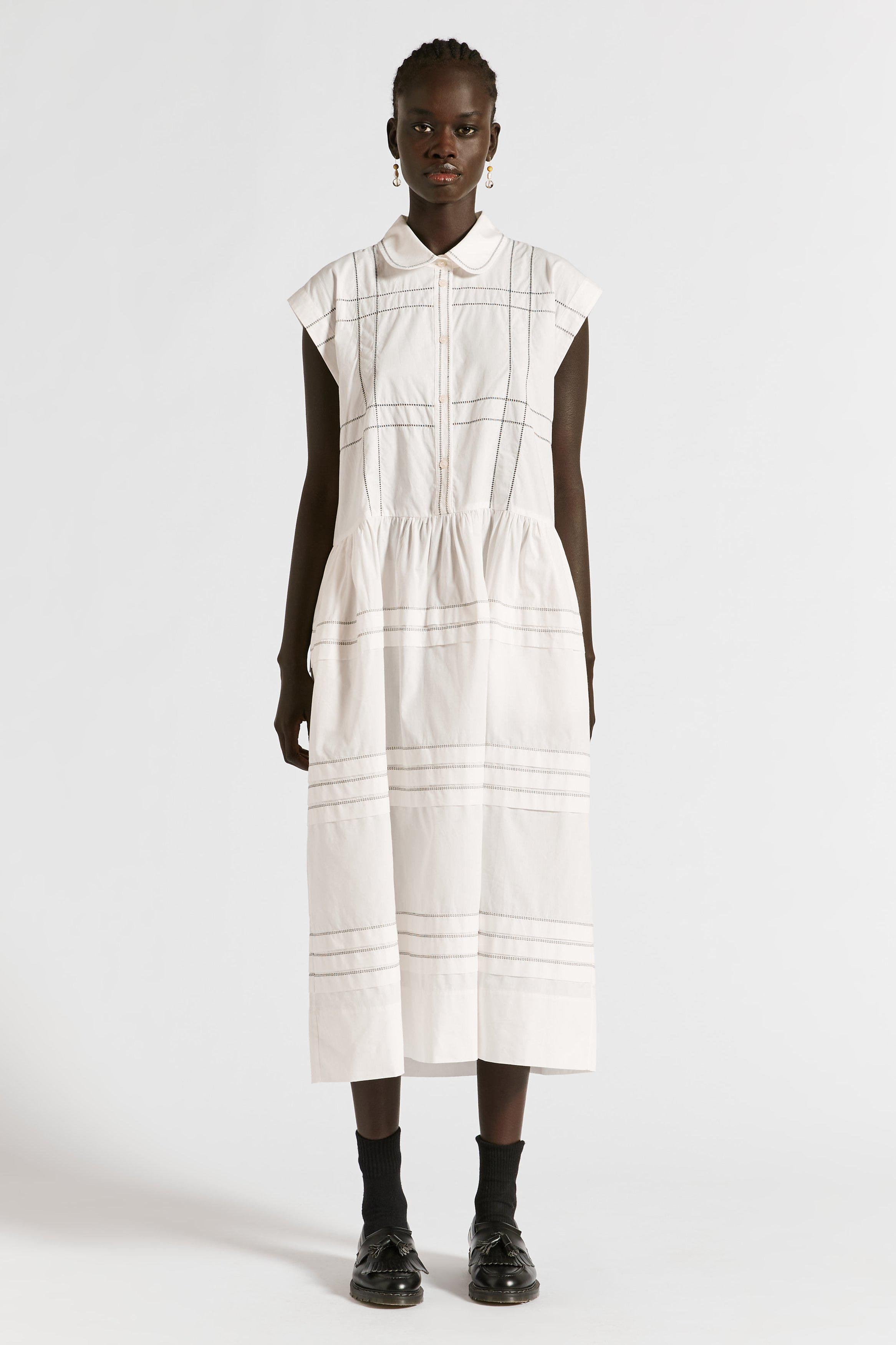 Parker Embroidered Tucked Dress