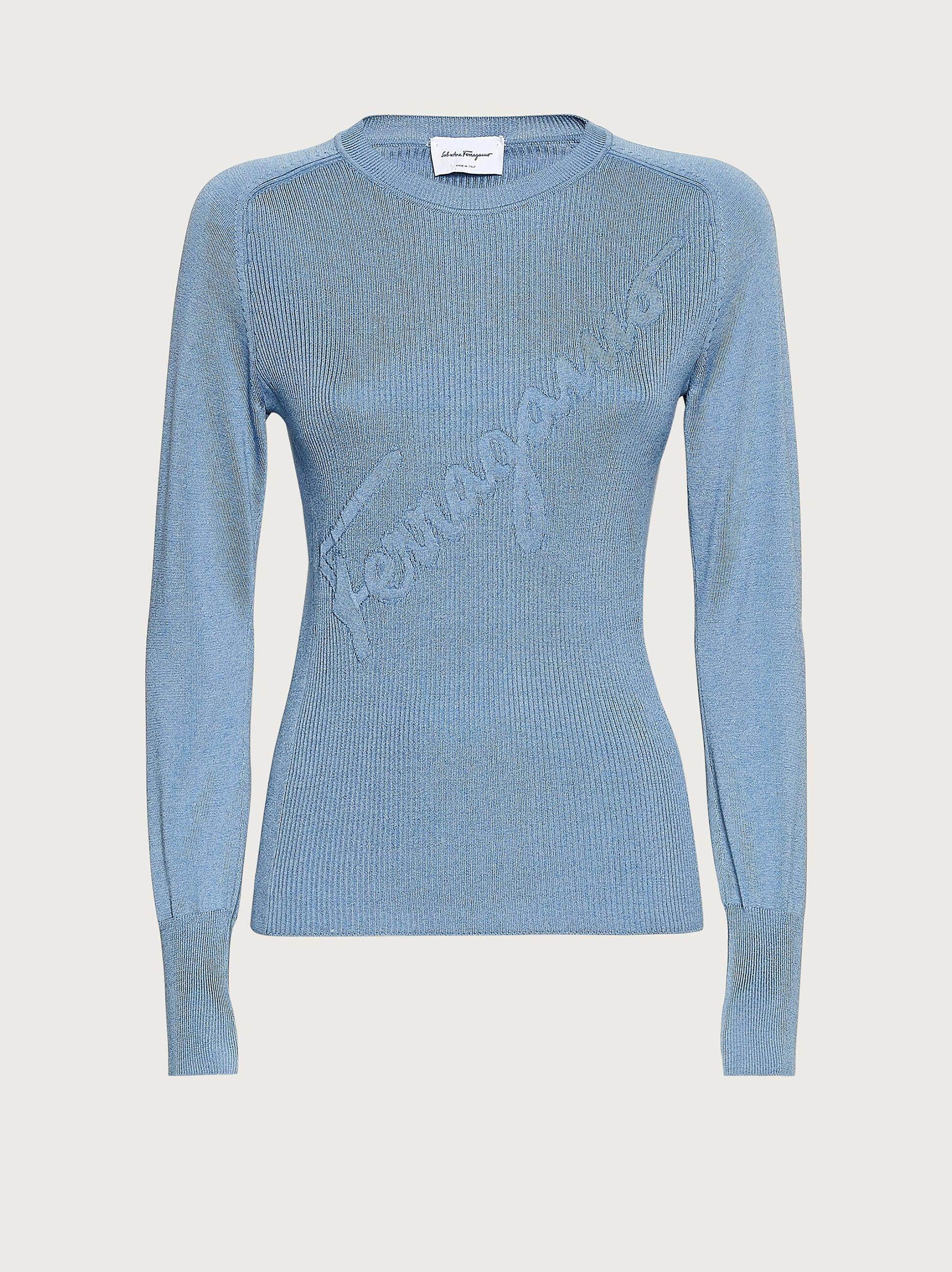 ROUND NECK SWEATER WITH INLAY 3