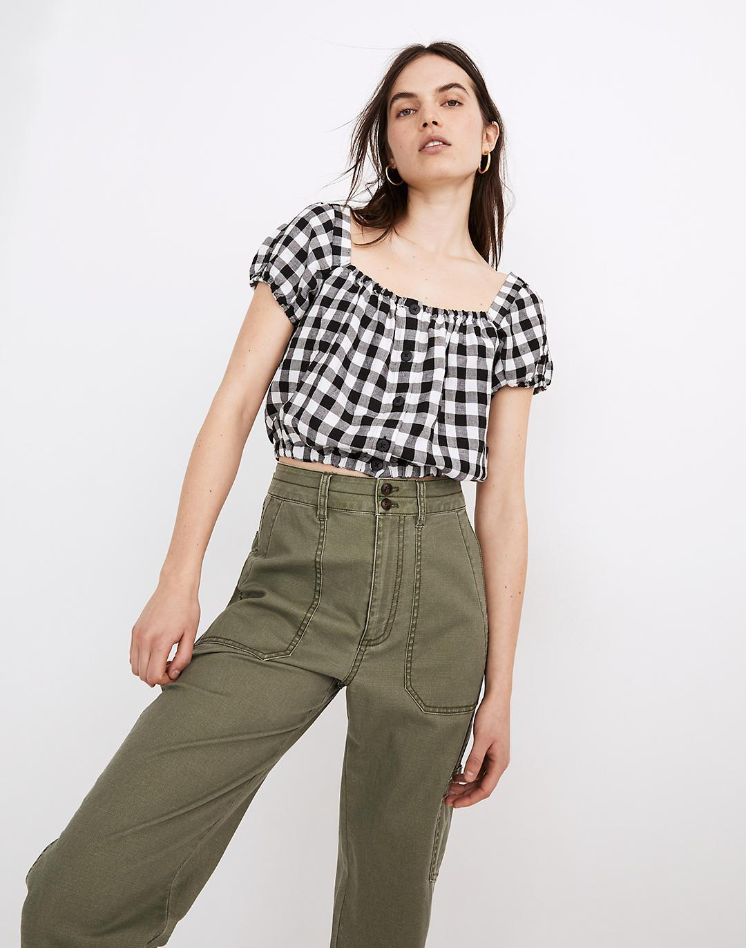 Linen-Blend Puff-Sleeve Button-Front Crop Top in Gingham Check