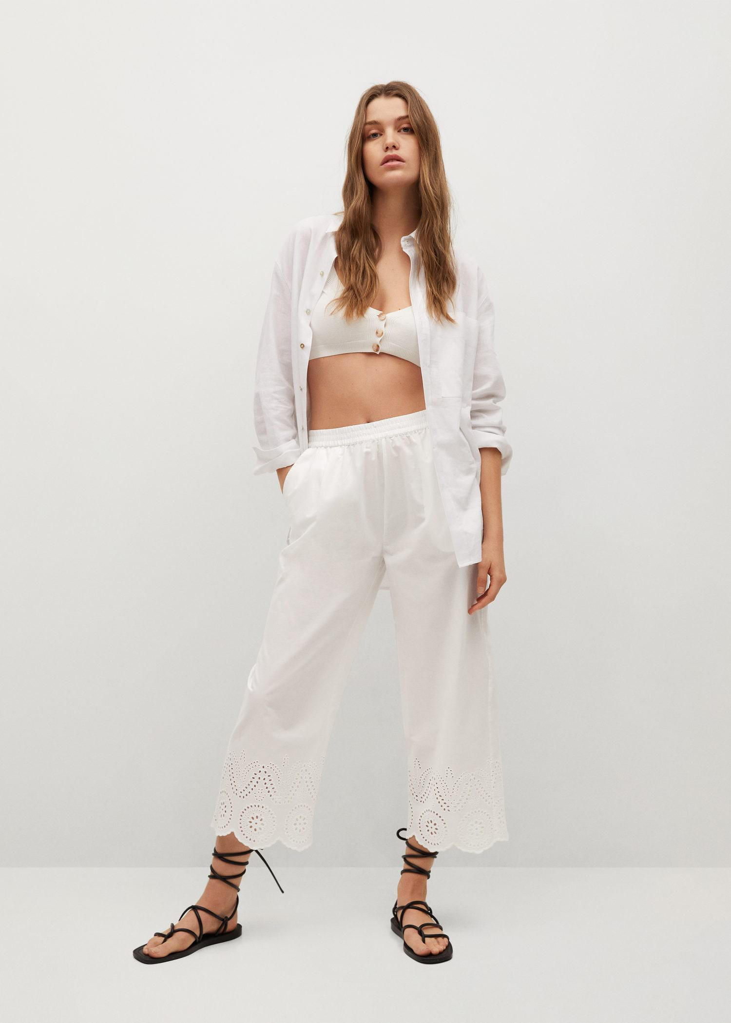 Broderie anglaise cotton pants 1