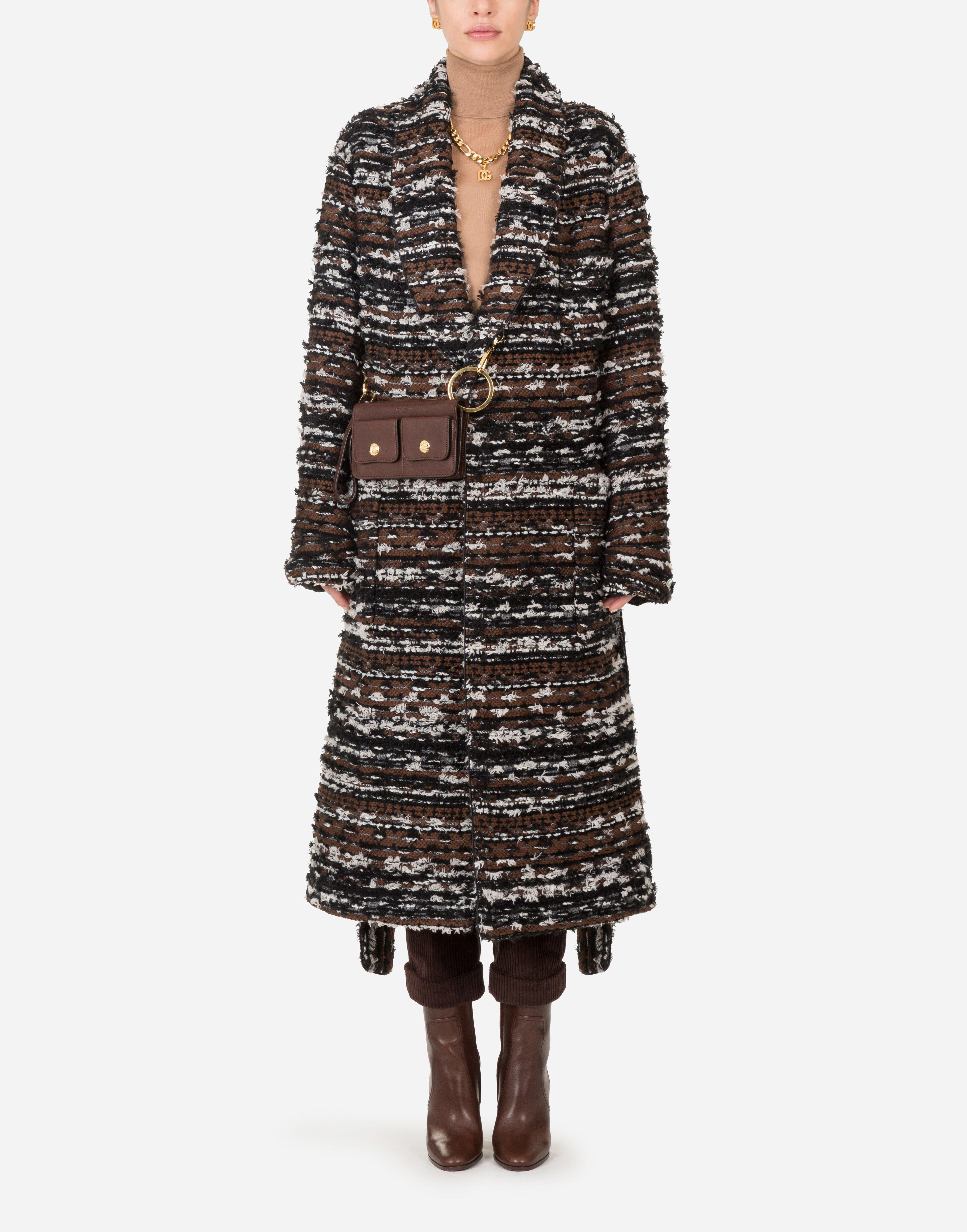 Robe-style jacket in tweed with belt