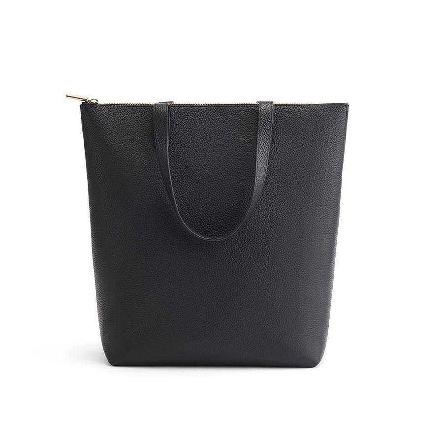 Women's Tall Structured Leather Zipper Tote Bag in Black | Pebbled Leather by Cuyana