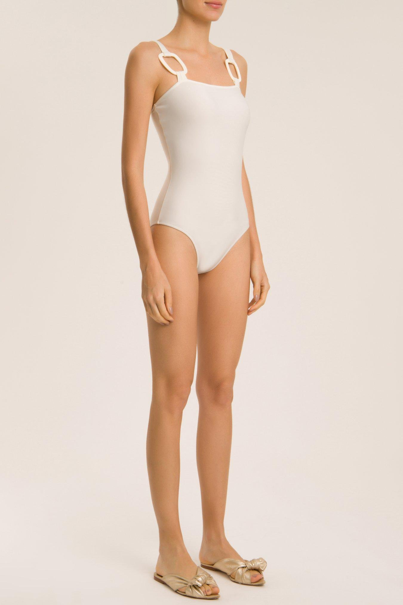 Solid Swimsuit With Hoops