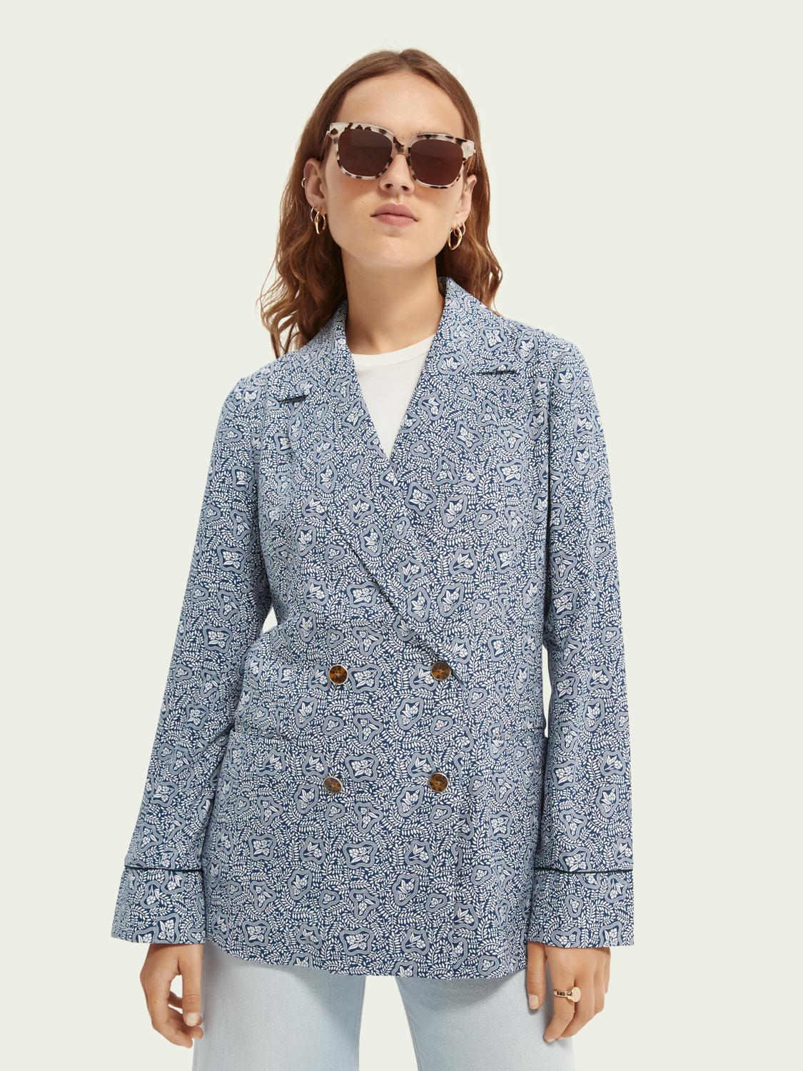 Printed double-breasted blazer