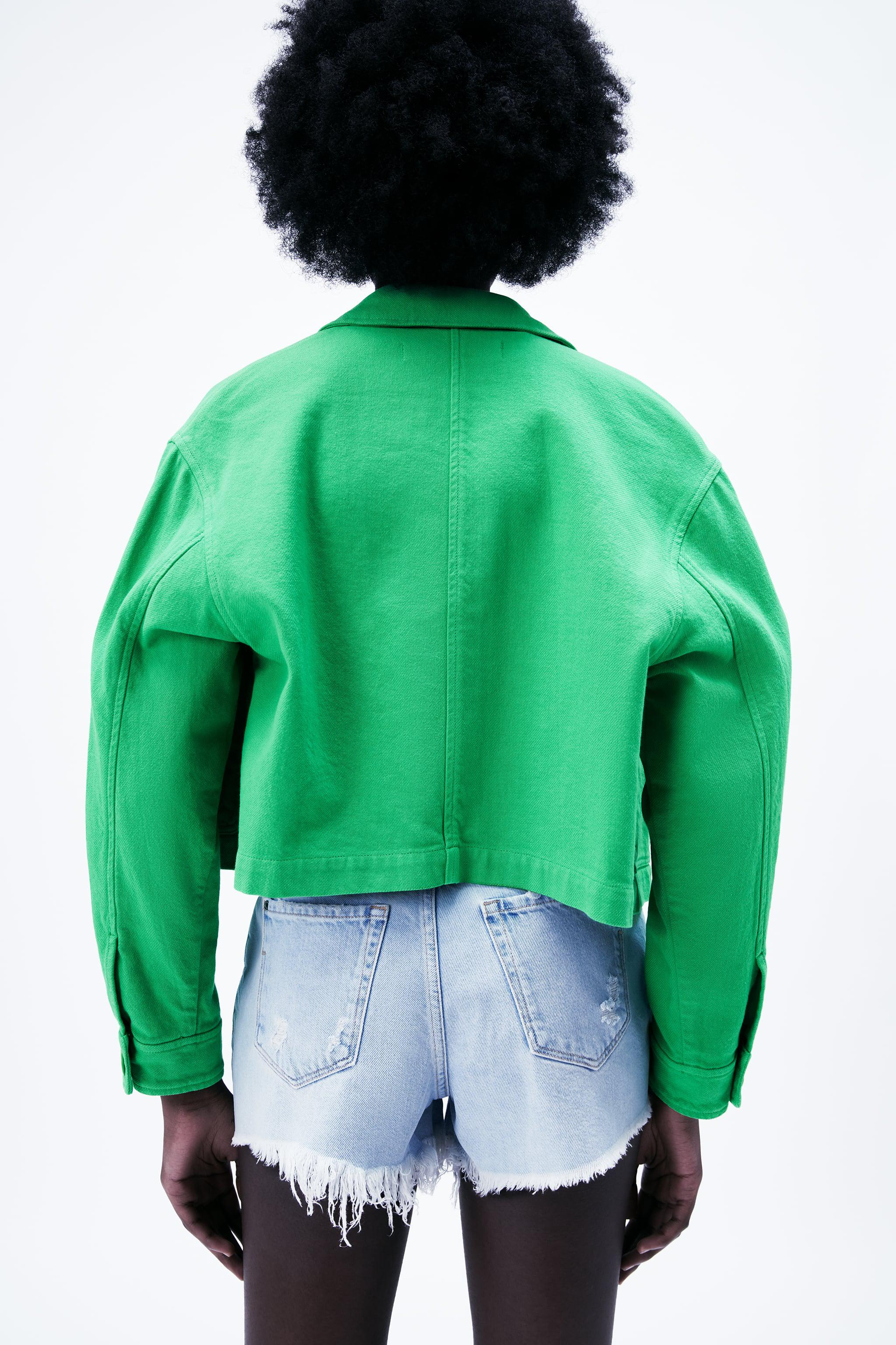 SOLID COLOR CROPPED JACKET 4