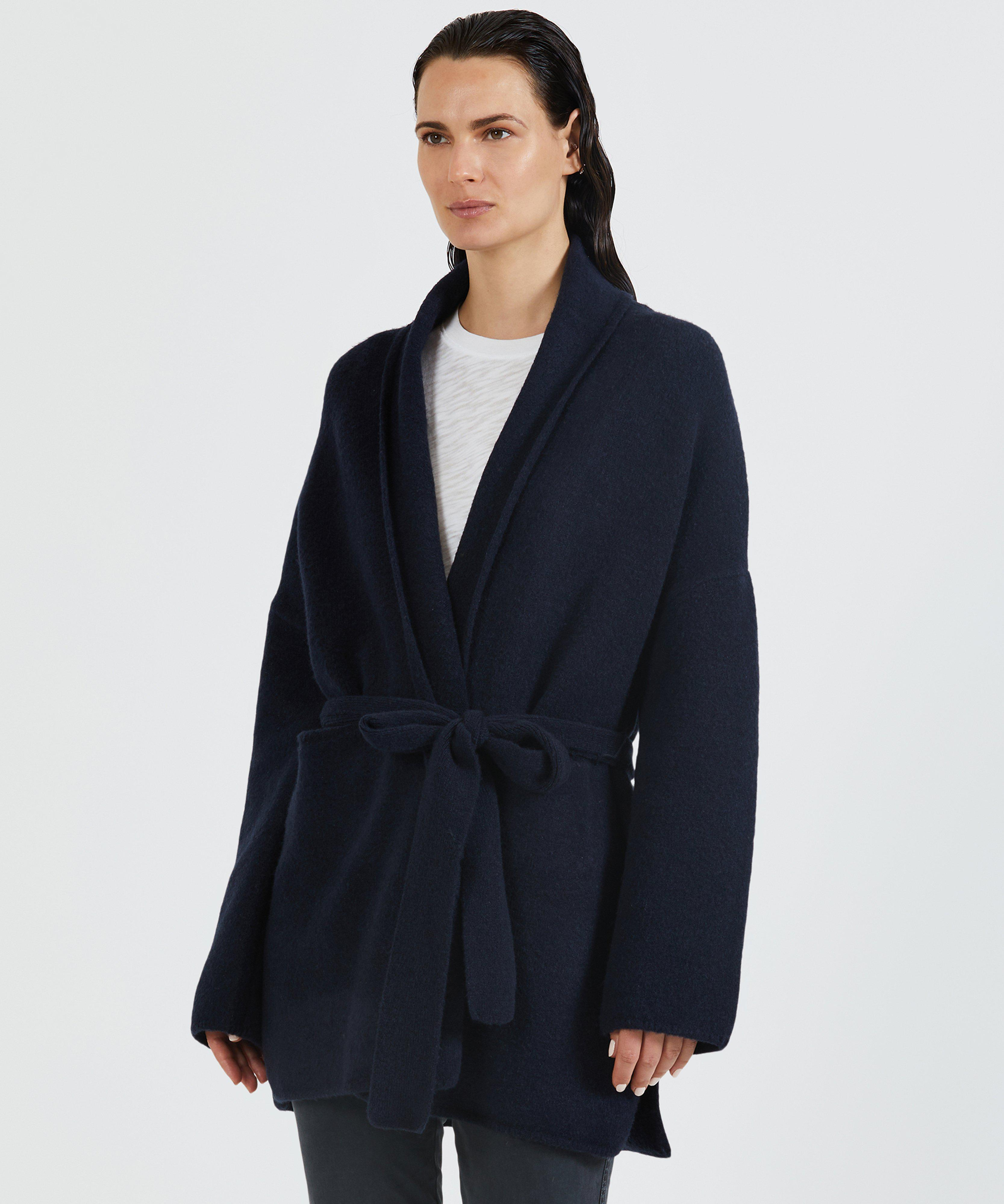 Wool Blend Belted Robe Sweater Coat - Navy