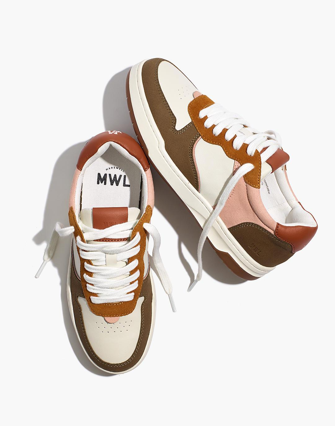Court Sneakers in Nubuck and Recycled Leather