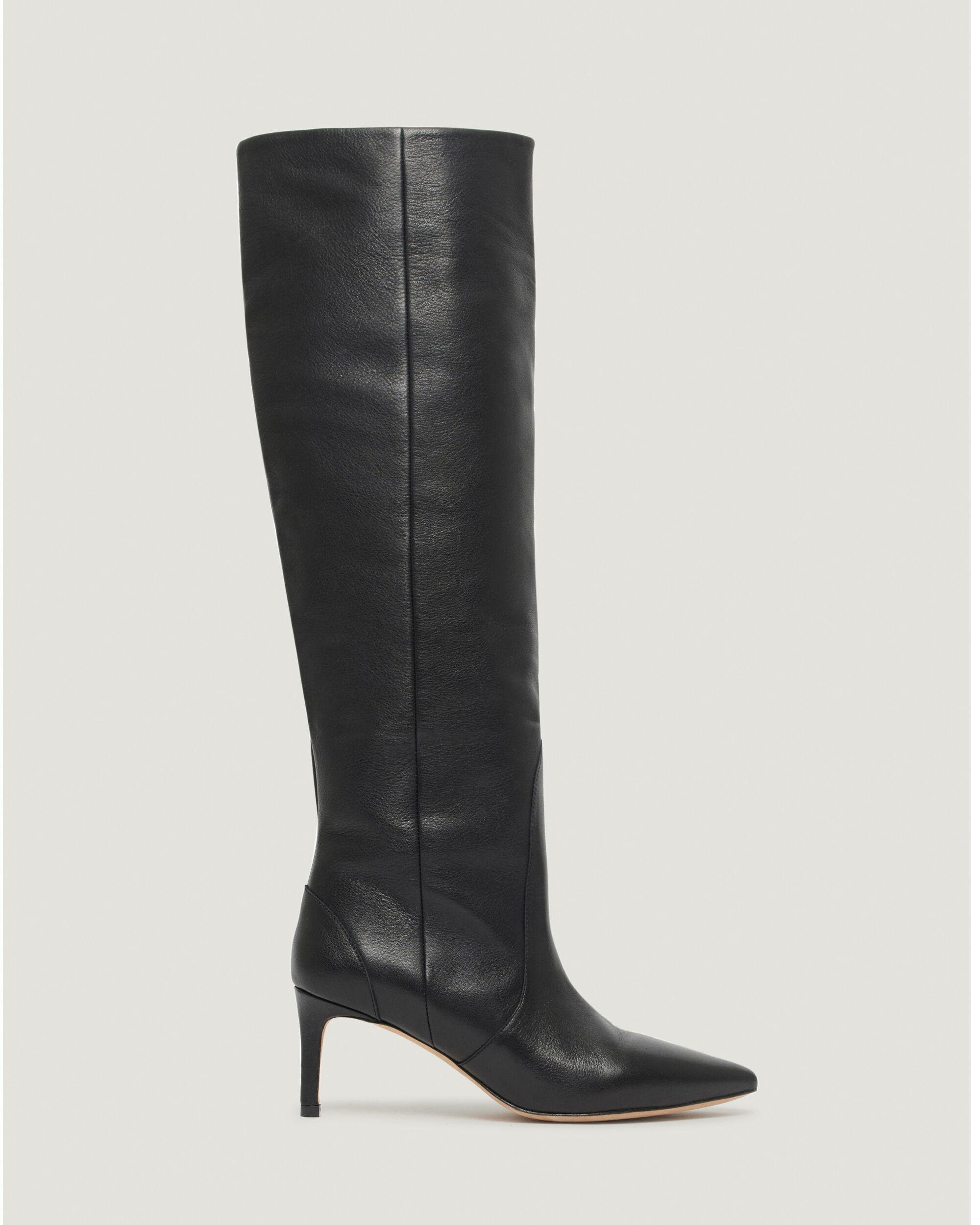 HYGIE KNEE HIGH POINTED LEATHER BOOTS