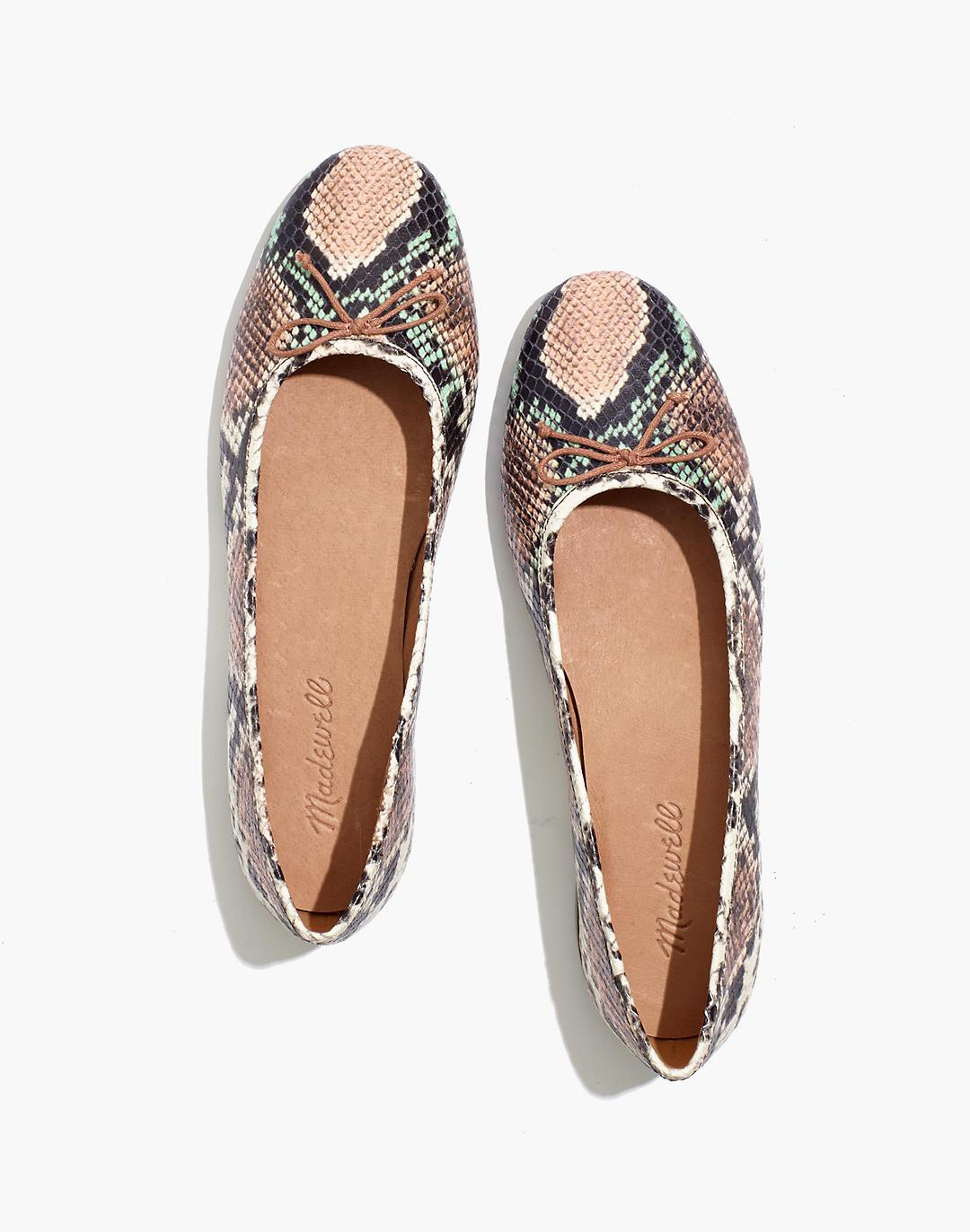 The Adelle Ballet Flat in Snake Embossed Leather