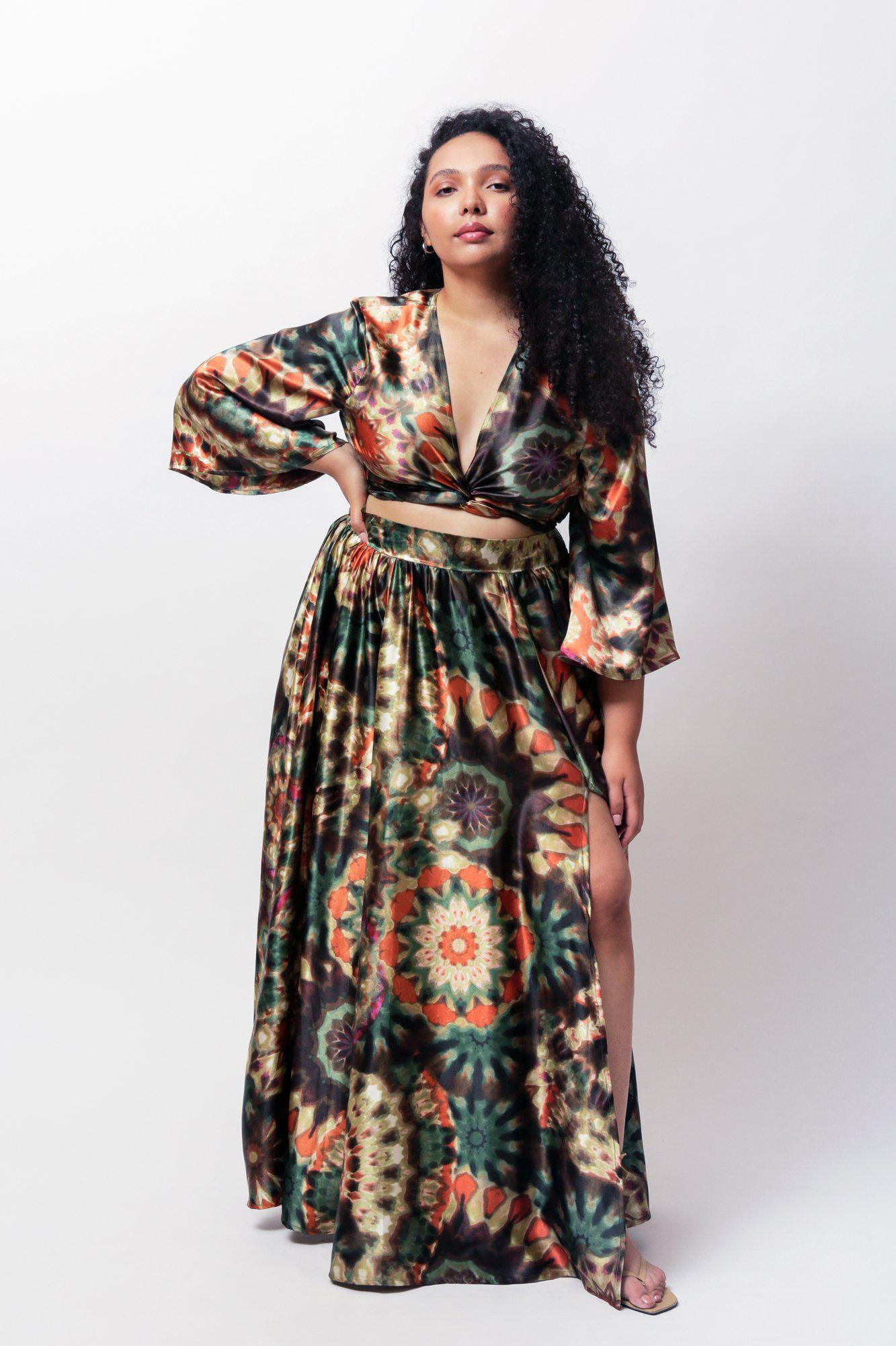 Amiyah Wrap Crop Top and Maxi Swing Skirt Two Piece Set 1