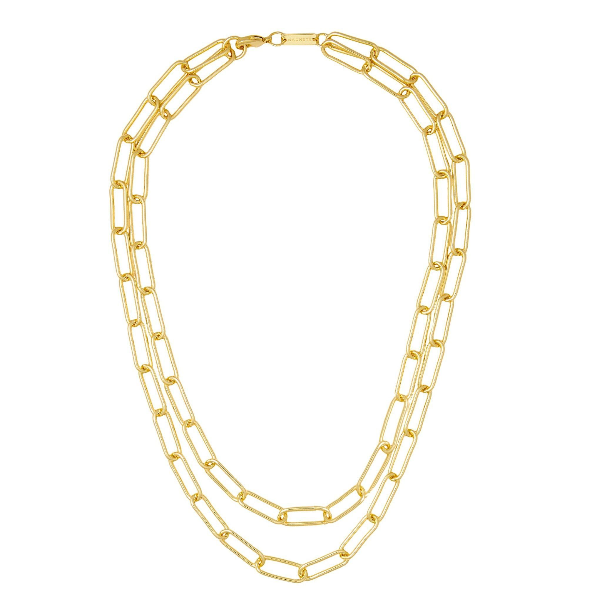 Paperclip Chain Layered Necklace in Gold