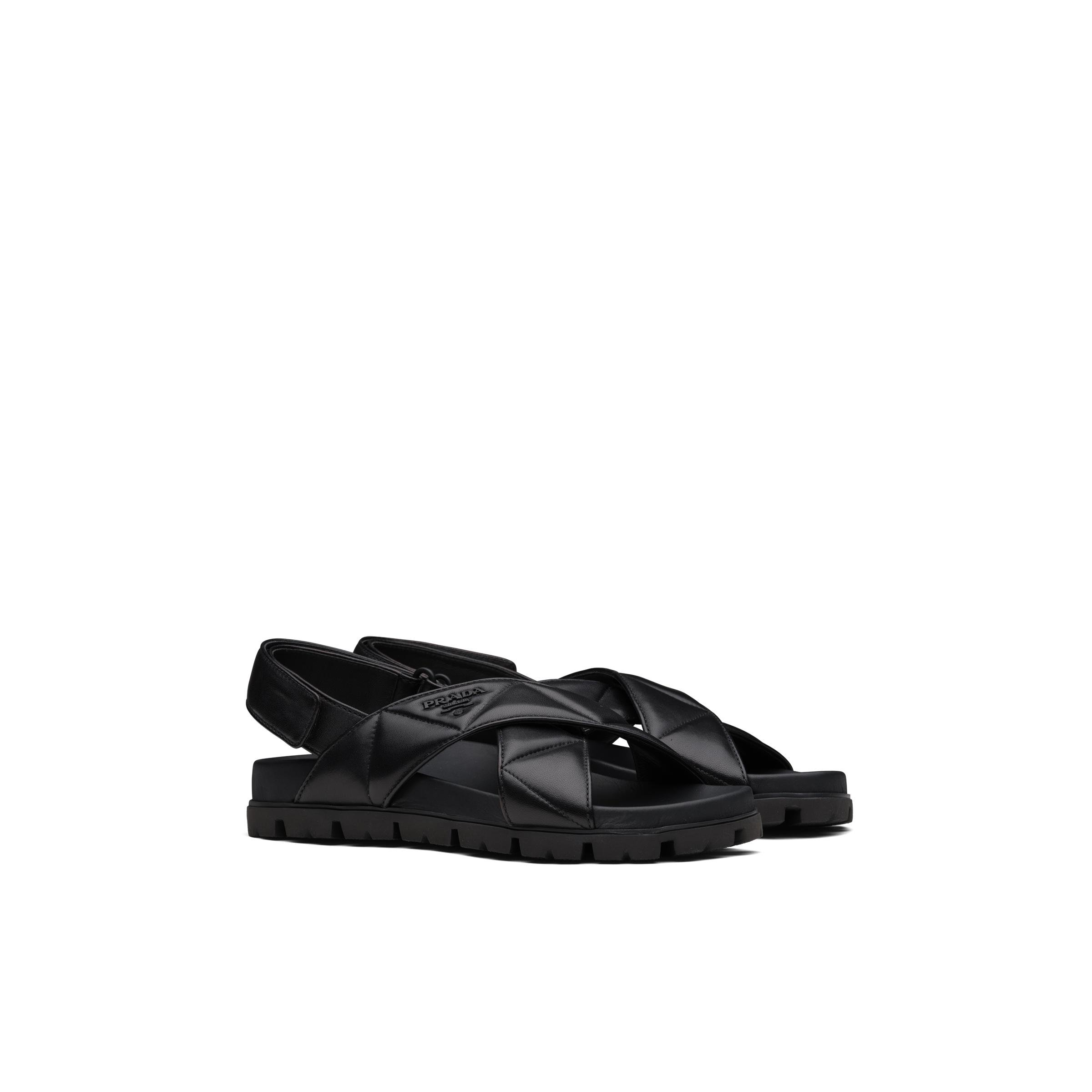 Sporty Quilted Nappa Leather Sandals Women Black