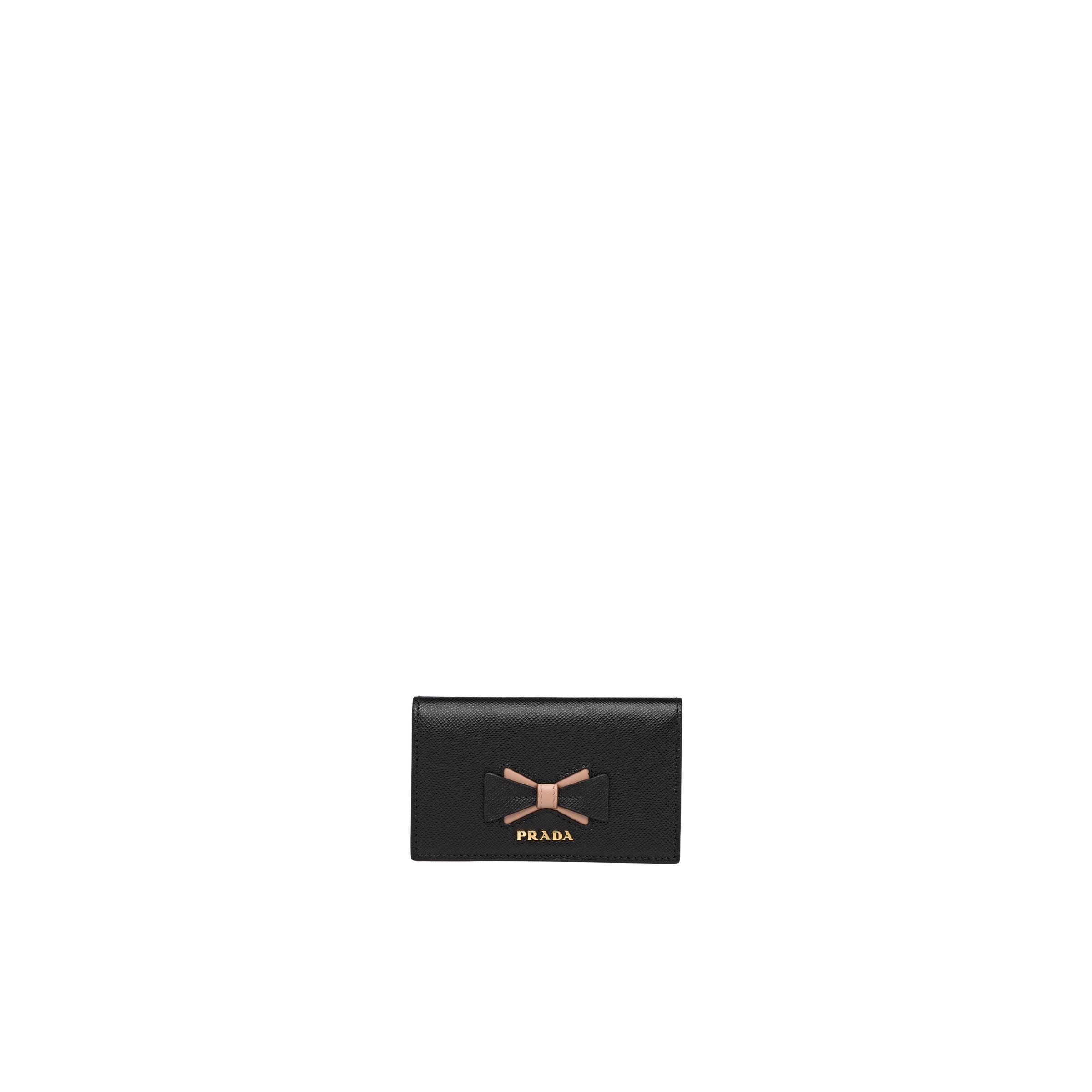Saffiano Leather Card Holder With Bow Women Black/pale Pink