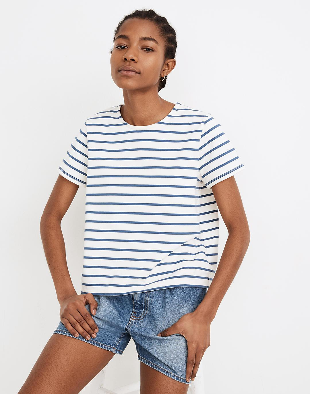 Luxe Boxy-Crop Tee in Atmore Stripe