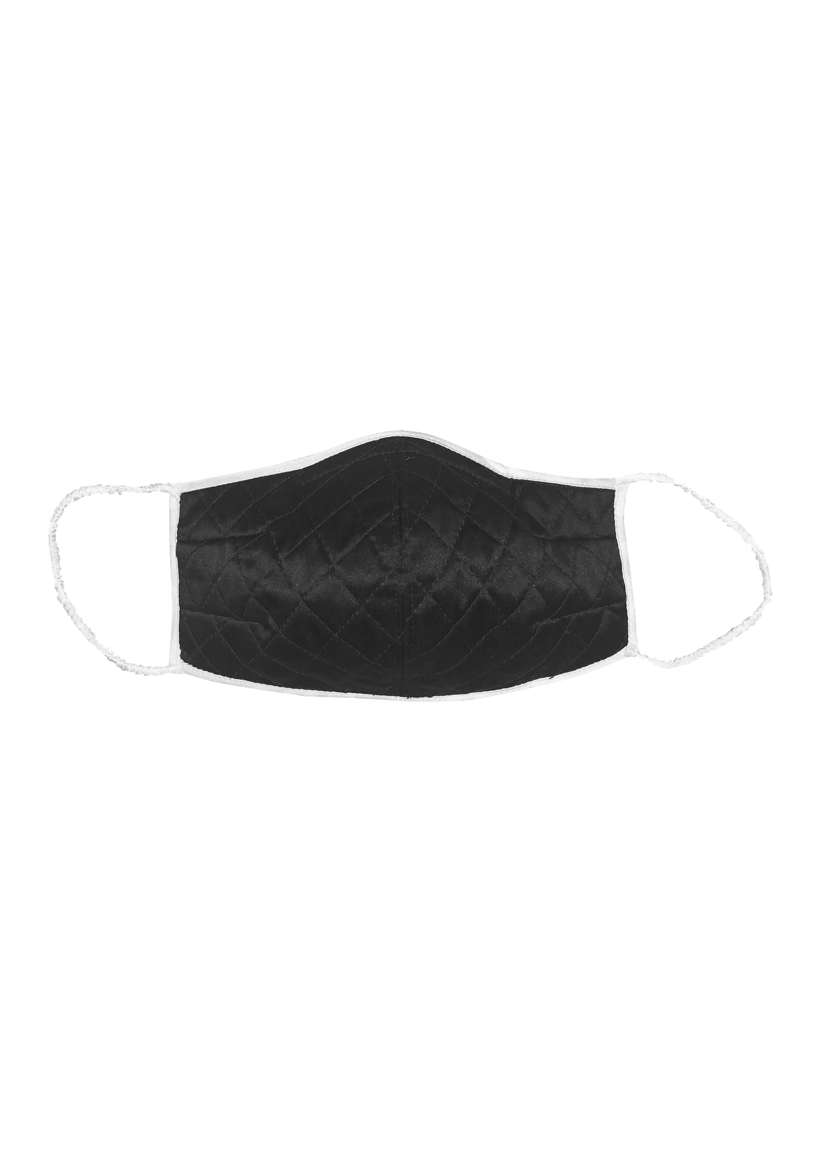 Carina Black and White Quilted Silk Mask