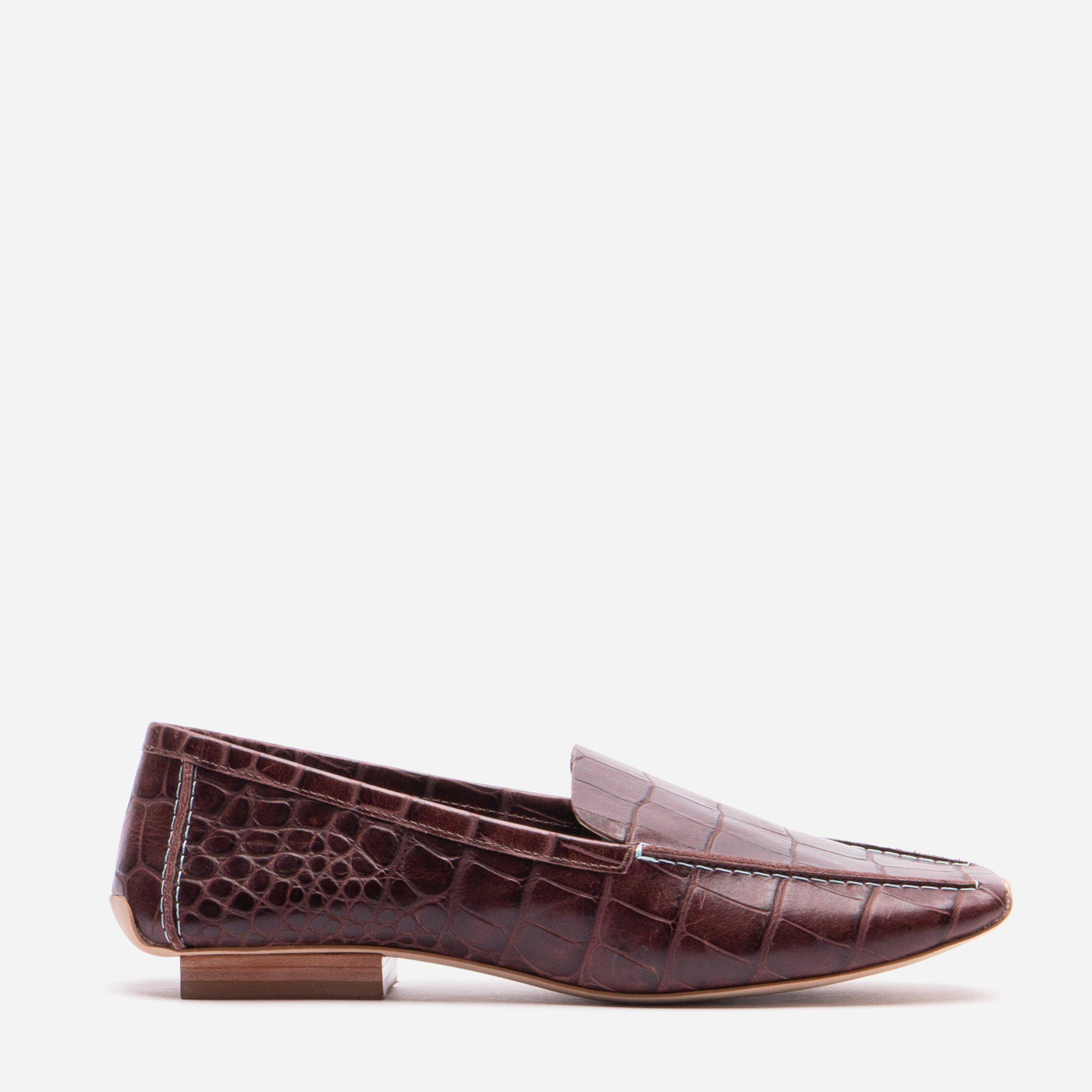 Elyce Loafer Croc Embossed Chocolate