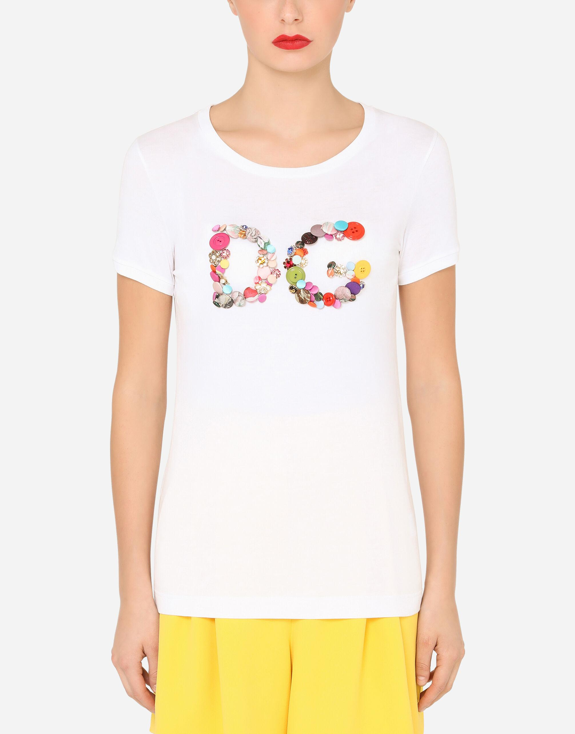 Short-sleeved jersey t-shirt with DG button embellishment
