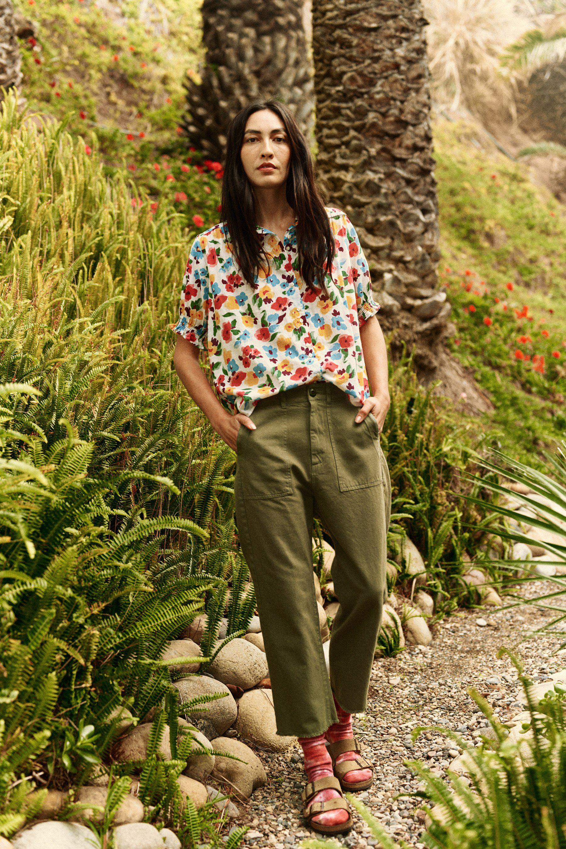 The Smocked Sleeve Kerchief Top. -- Tropical Floral