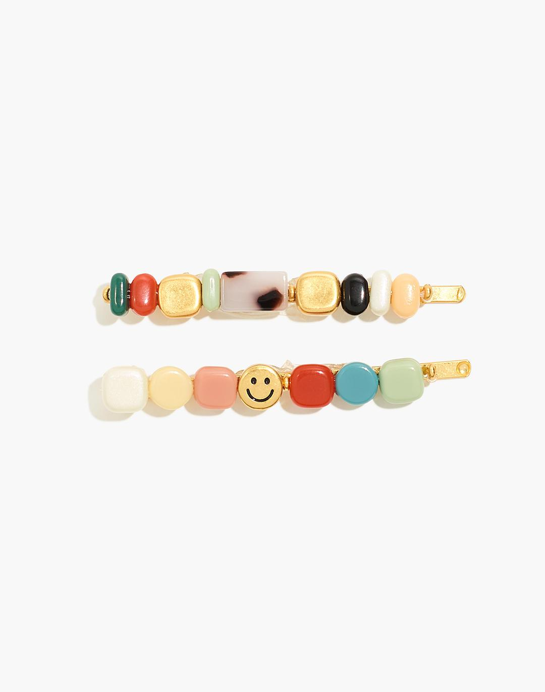 Two-Pack Happy Face Beaded Hair Pins